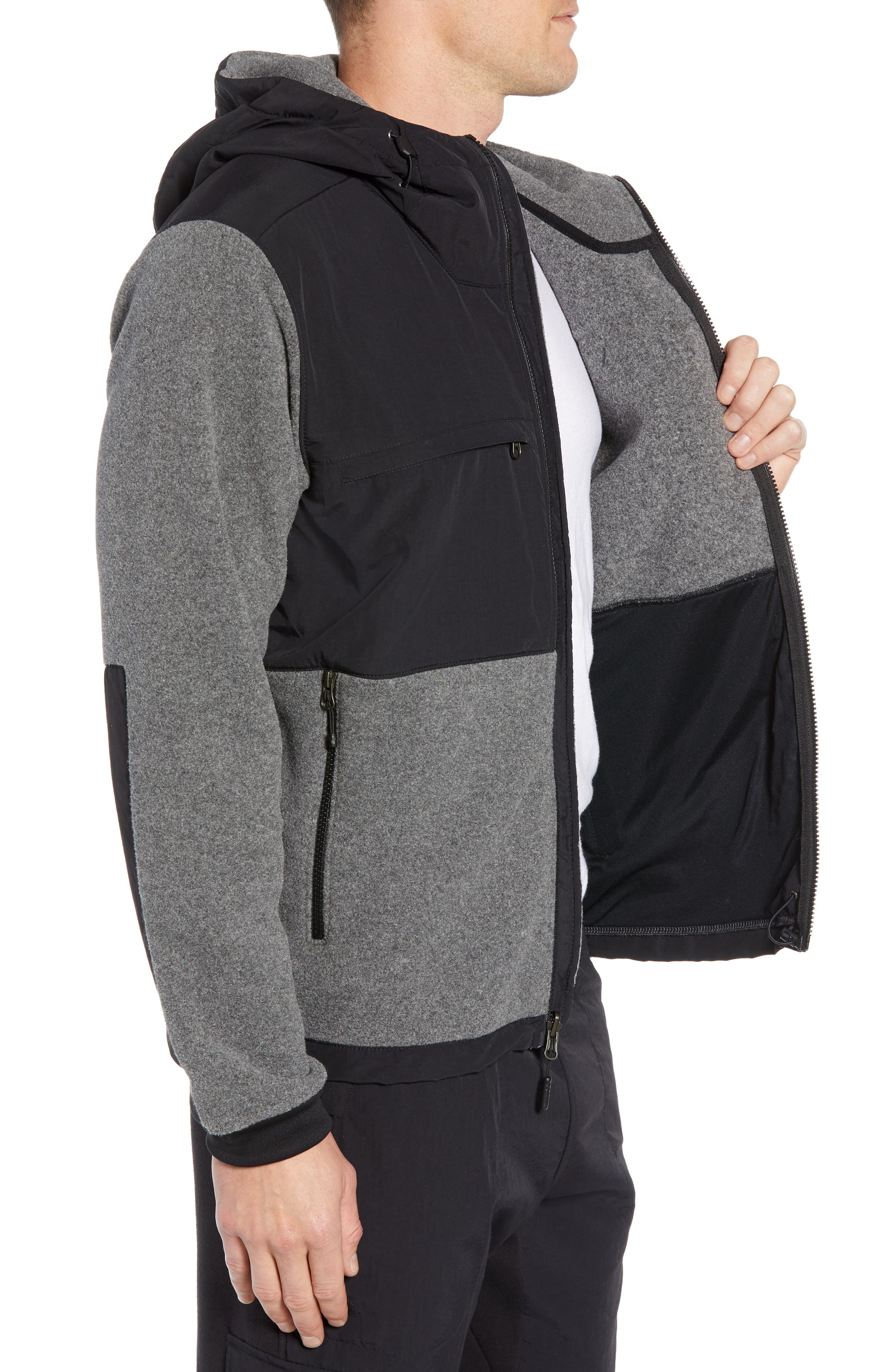 Denali 2 Hooded Jacket,                             Alternate thumbnail 3, color,                             RECYCLED CHARCOAL GREY HEATHER
