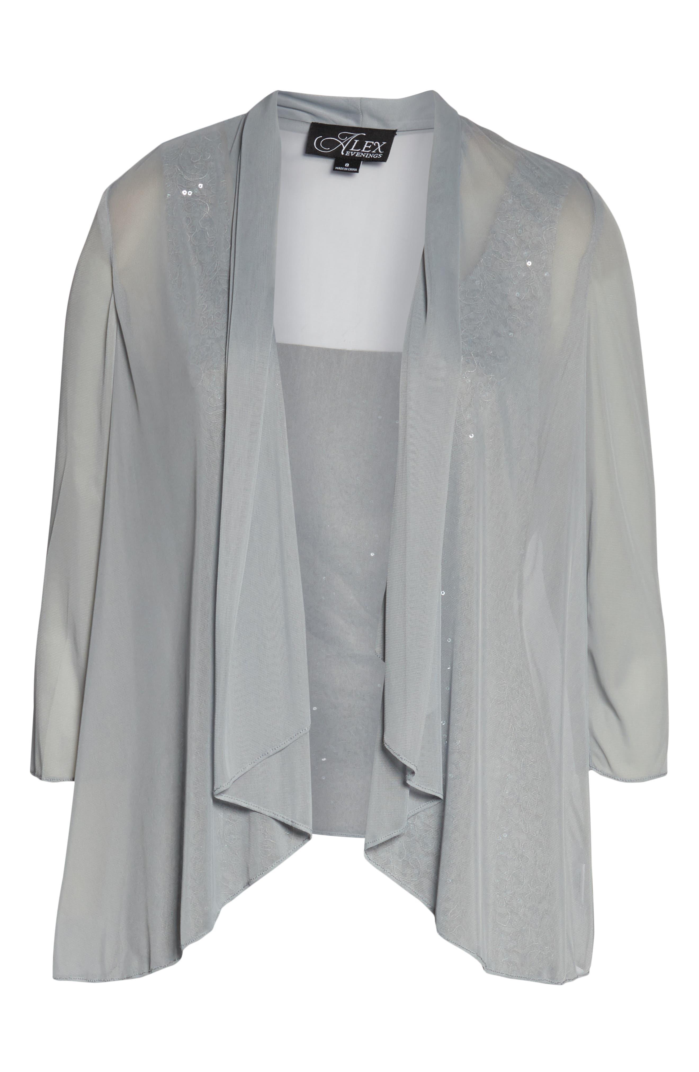 ALEX EVENINGS,                             Sequin Sheath Dress with Jacket,                             Alternate thumbnail 6, color,                             LIGHT BLUE