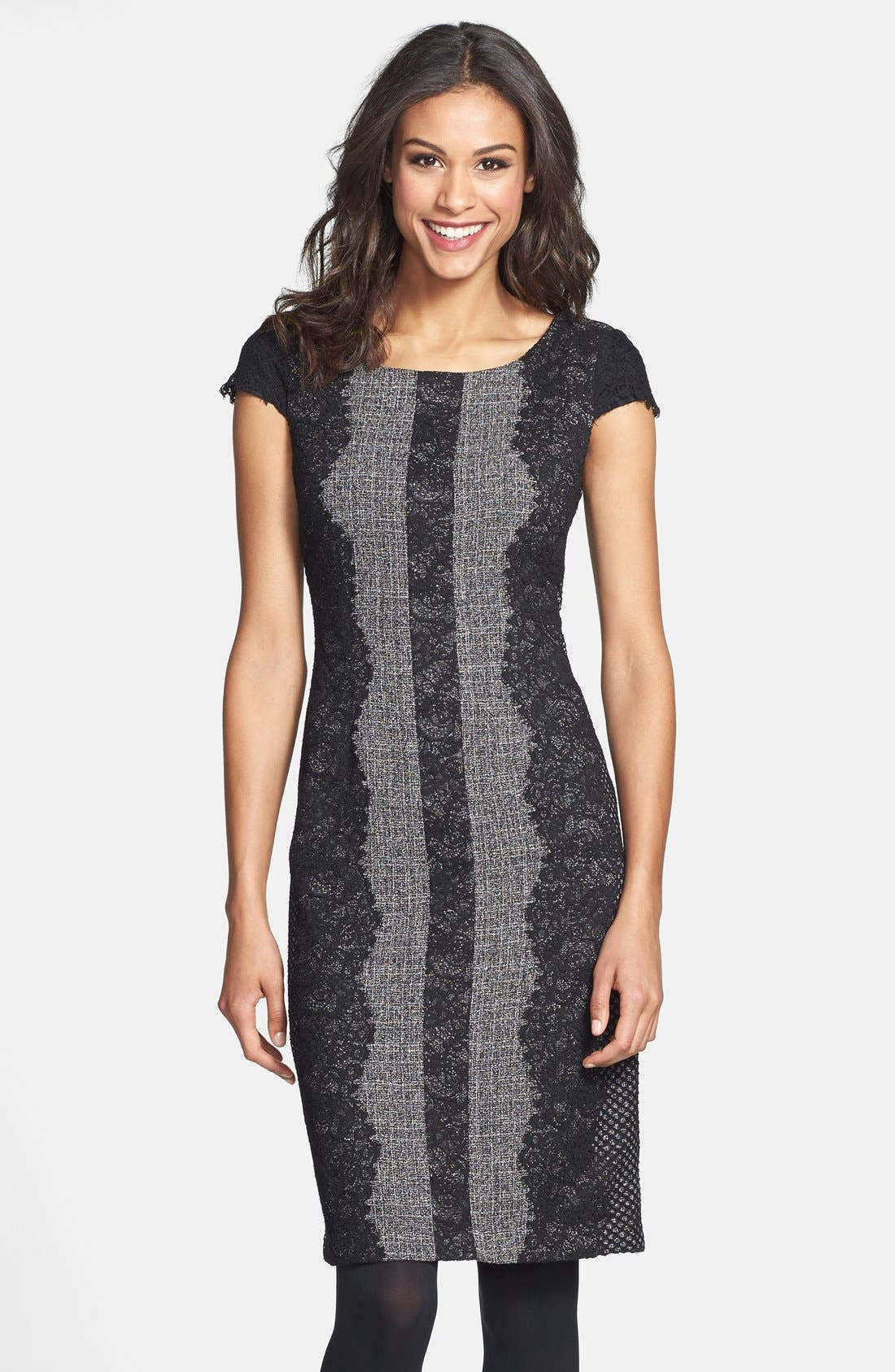 Lace Trim Tweed Sheath Dress,                             Main thumbnail 1, color,                             020