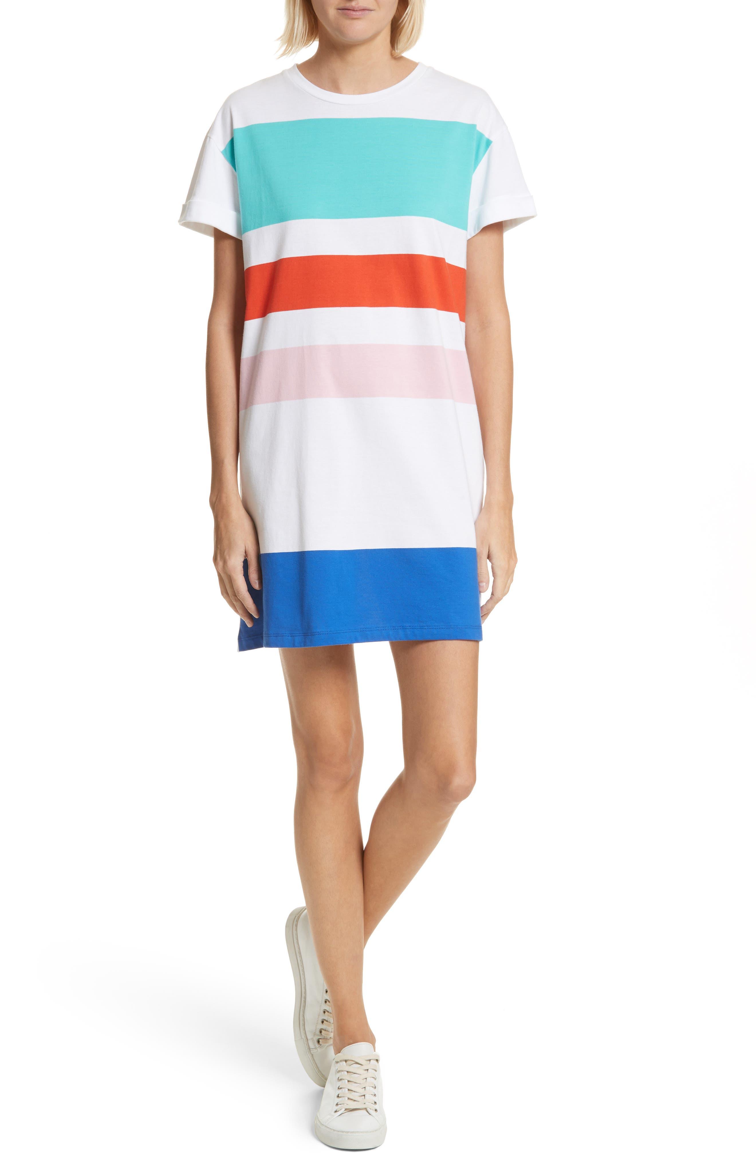 être cécile Big Stripe Oversize Dress,                         Main,                         color, 100