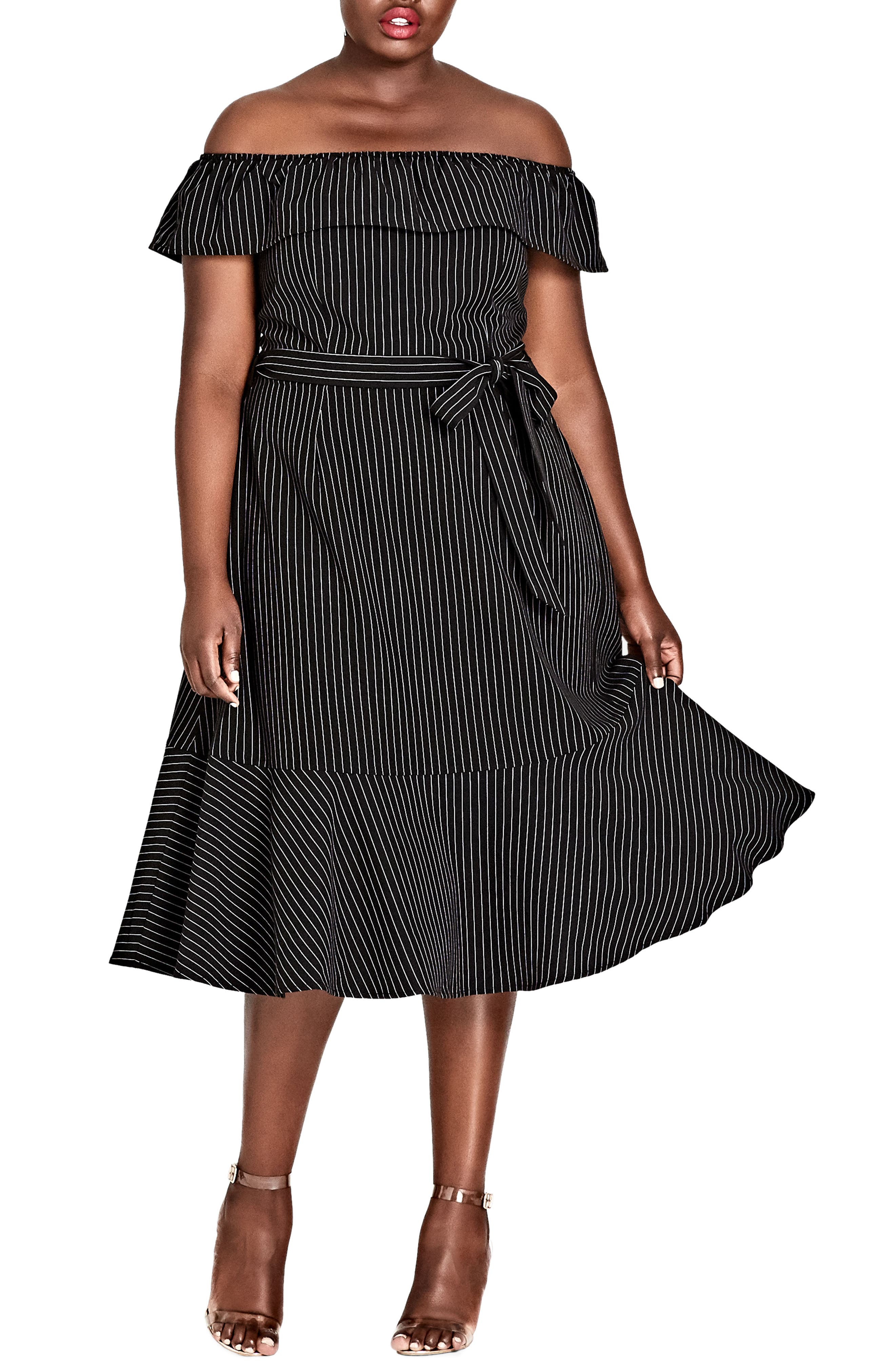 CITY CHIC,                             Midi Madame Stripe Off the Shoulder Dress,                             Main thumbnail 1, color,                             BLACK