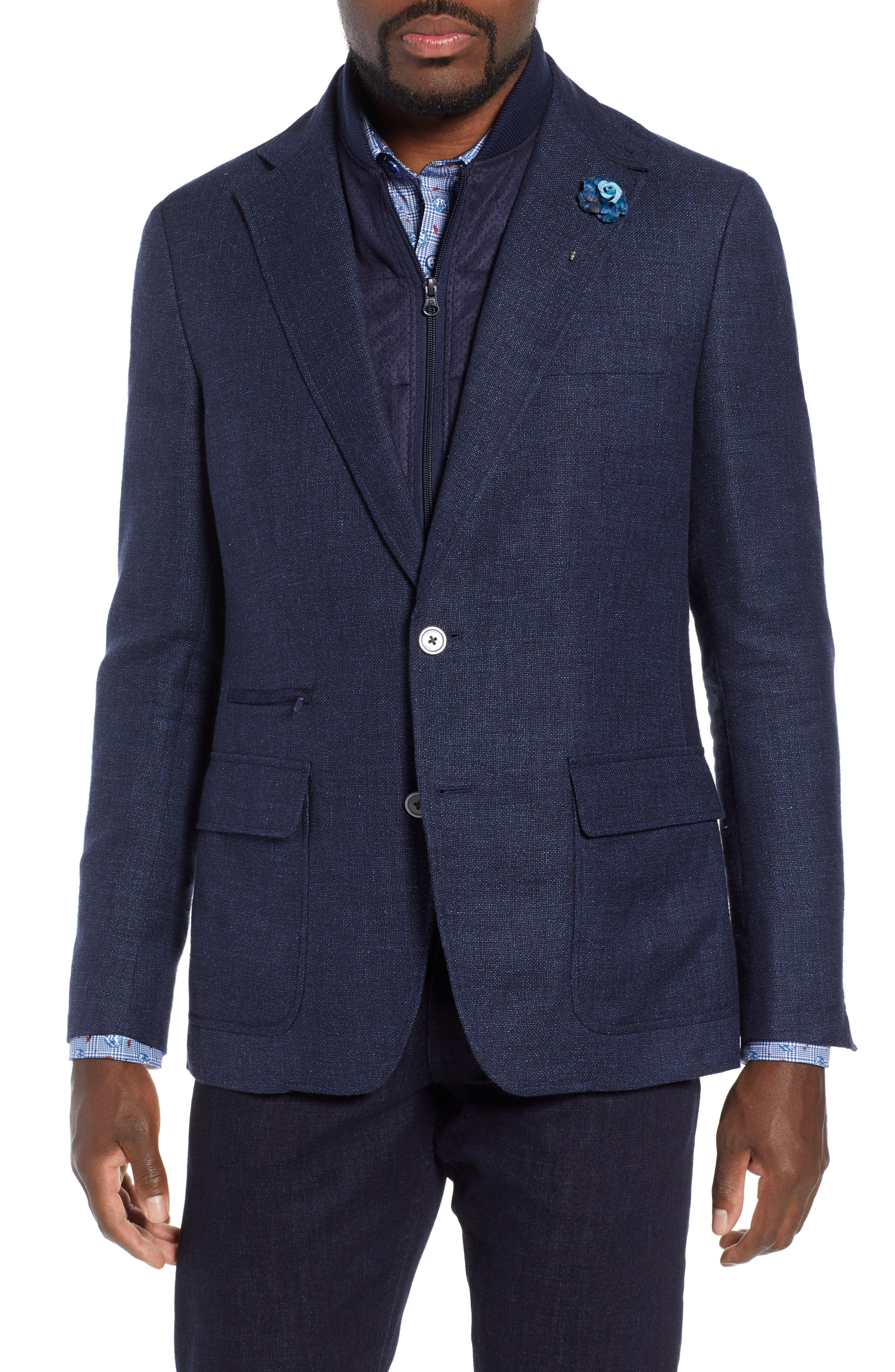 Downhill Tailored Wool Sport Coat,                             Main thumbnail 1, color,                             NAVY
