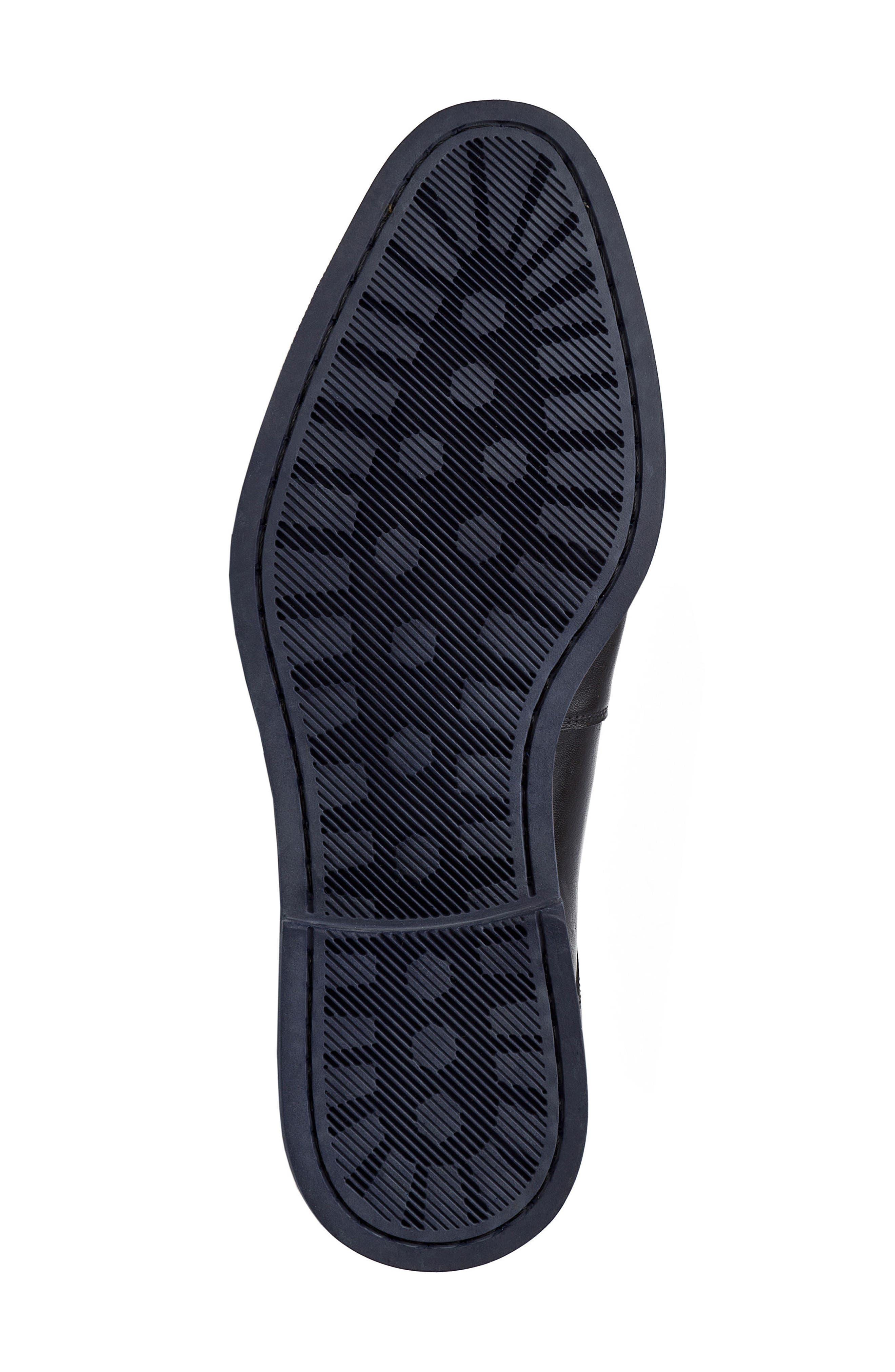 Garret Plain Toe Derby,                             Alternate thumbnail 6, color,                             BLACK LEATHER