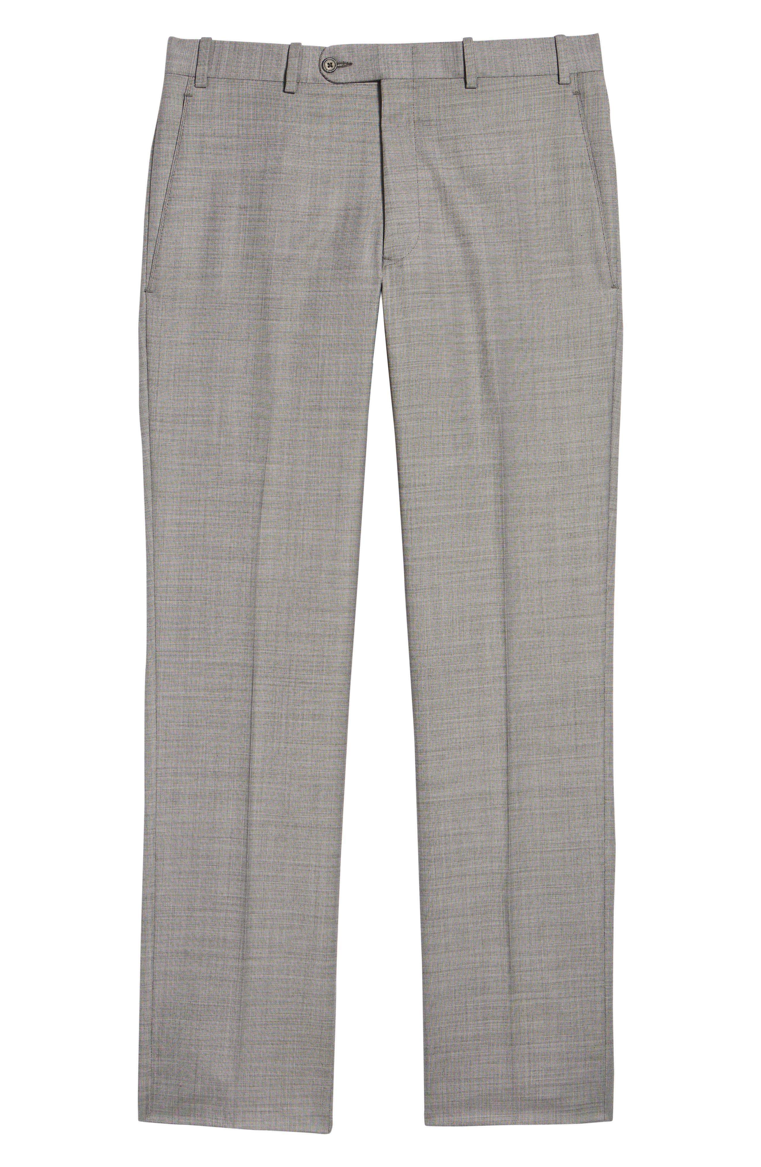 Traditional Fit Flat Front Solid Wool Trousers,                             Alternate thumbnail 6, color,                             GREY PEARL