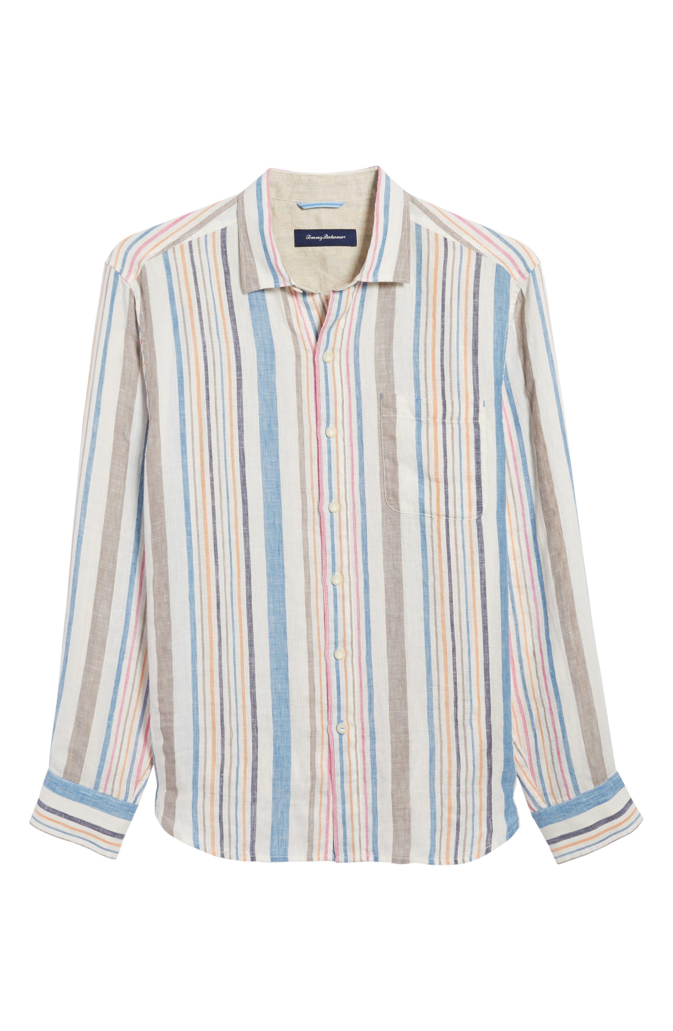 Raffia Stripe Linen Sport Shirt,                             Alternate thumbnail 6, color,                             400