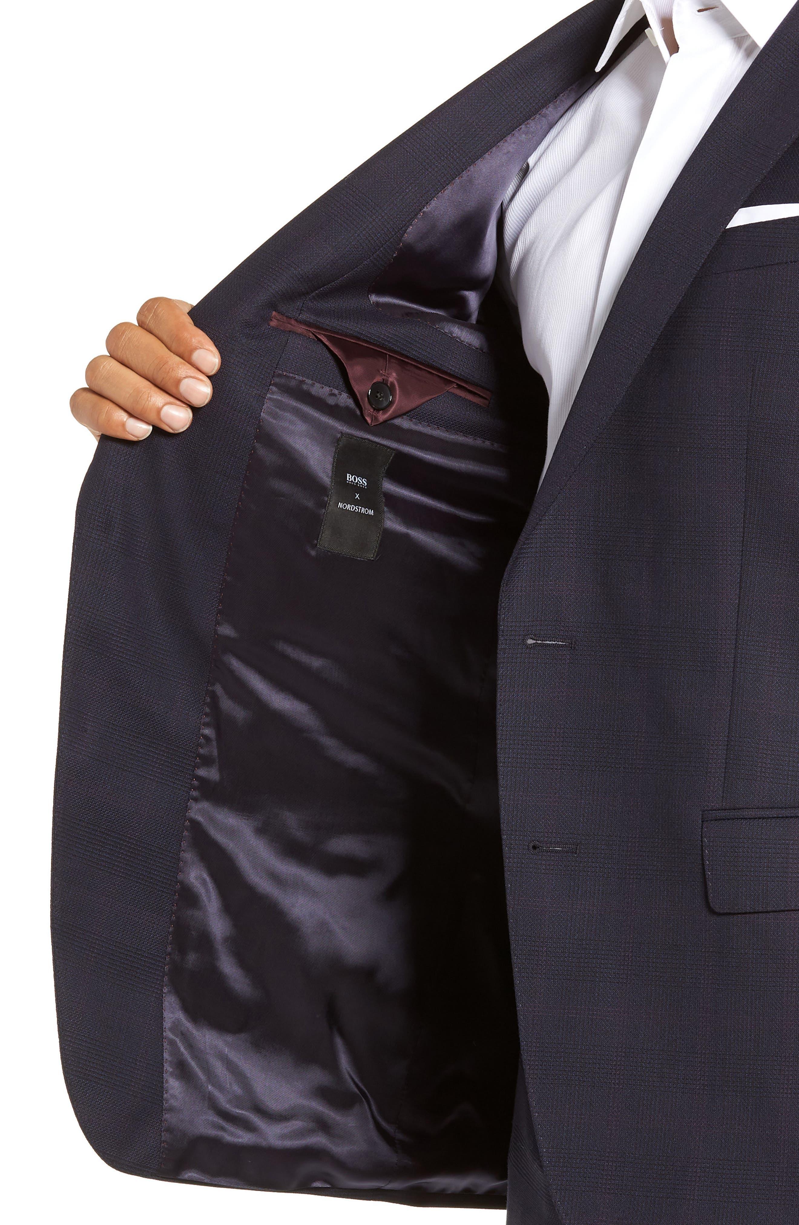 x Nordstrom Huge/Genius Trim Fit Plaid Wool Suit,                             Alternate thumbnail 5, color,                             NAVY