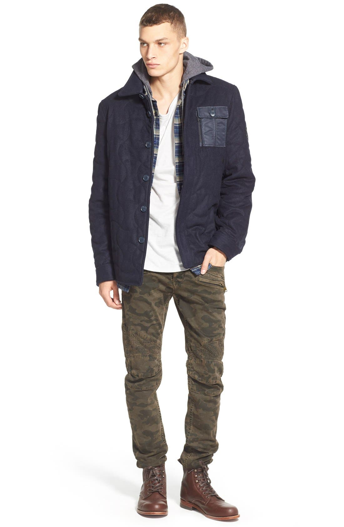 'Alford' Trim Fit Long Sleeve Plaid Hooded Shirt,                             Alternate thumbnail 6, color,