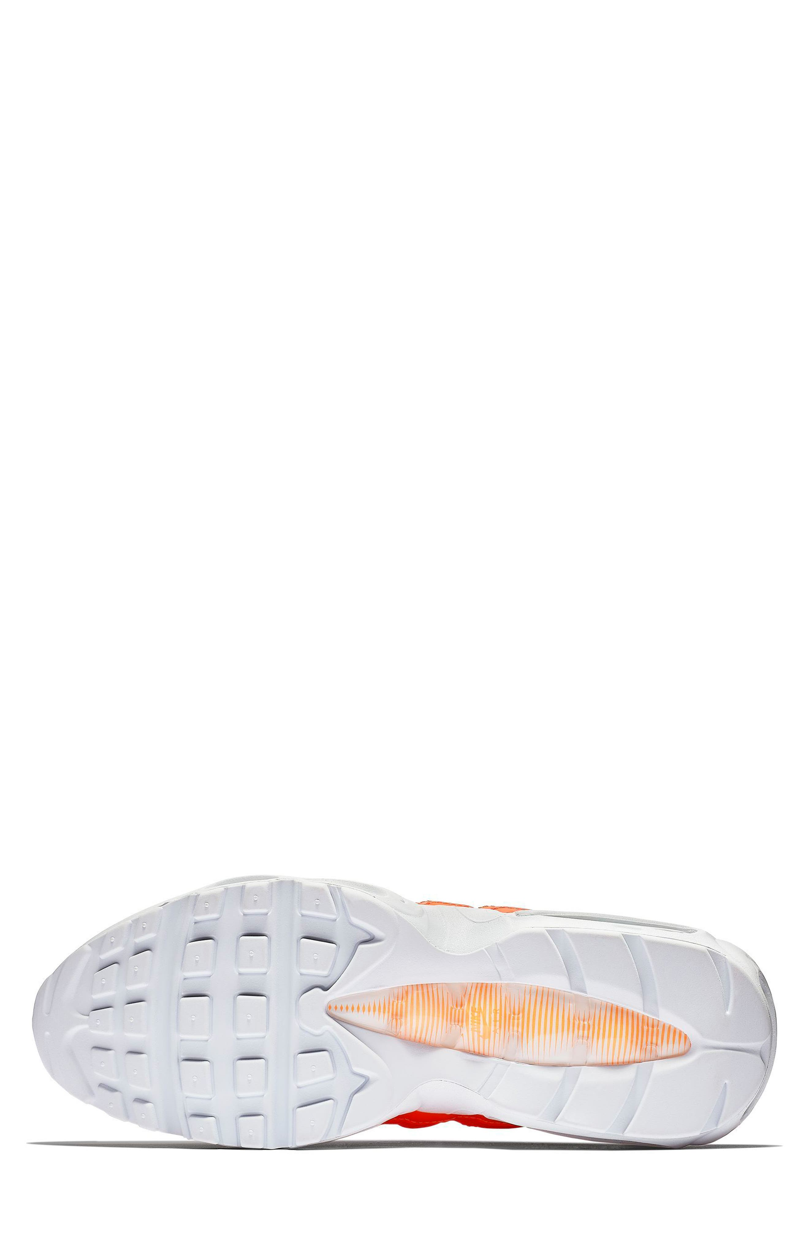 Air Max 95 SE Running Shoe,                             Alternate thumbnail 5, color,                             ORANGE/ WHT-BLK