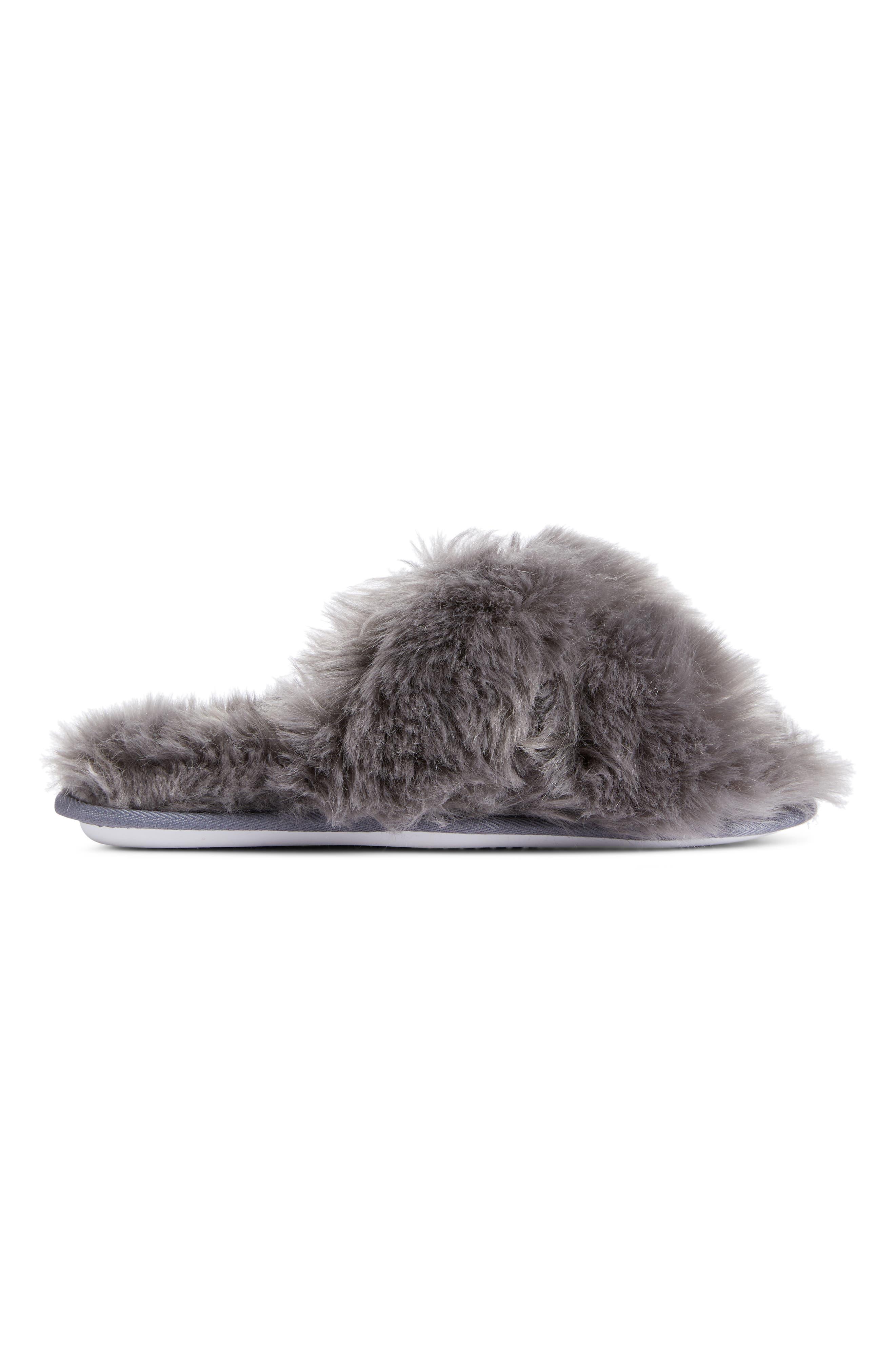 Cuddle Plush Faux Fur Scuff Slipper,                             Alternate thumbnail 3, color,                             GREY ASPHALT