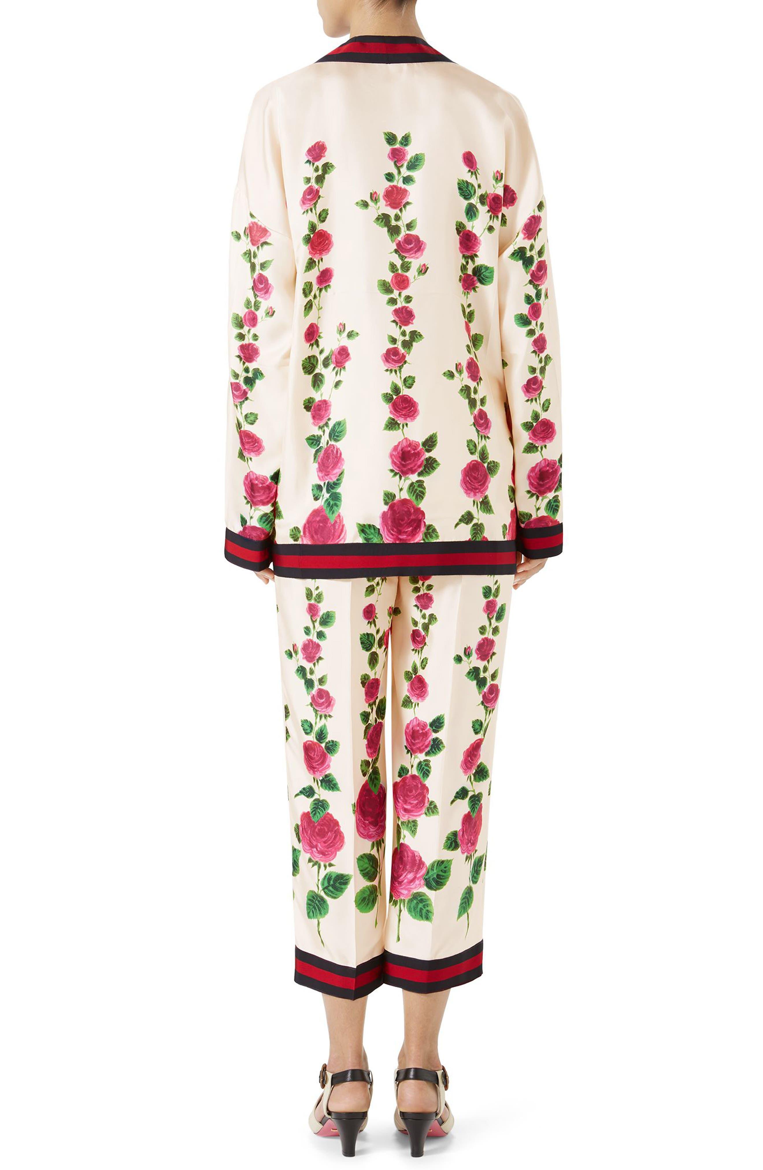Rose Print Silk Pajama Pants,                             Alternate thumbnail 4, color,                             909