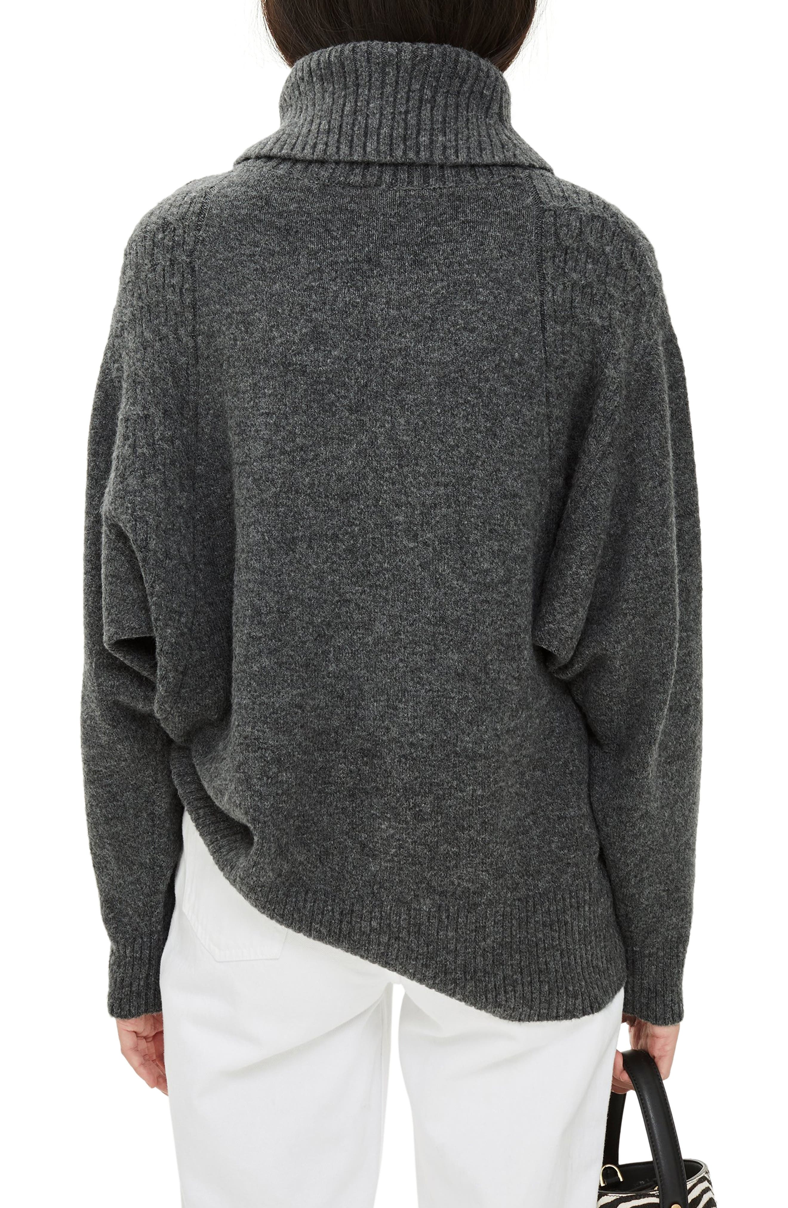 TOPSHOP,                             Turtleneck Sweater,                             Alternate thumbnail 2, color,                             CHARCOAL