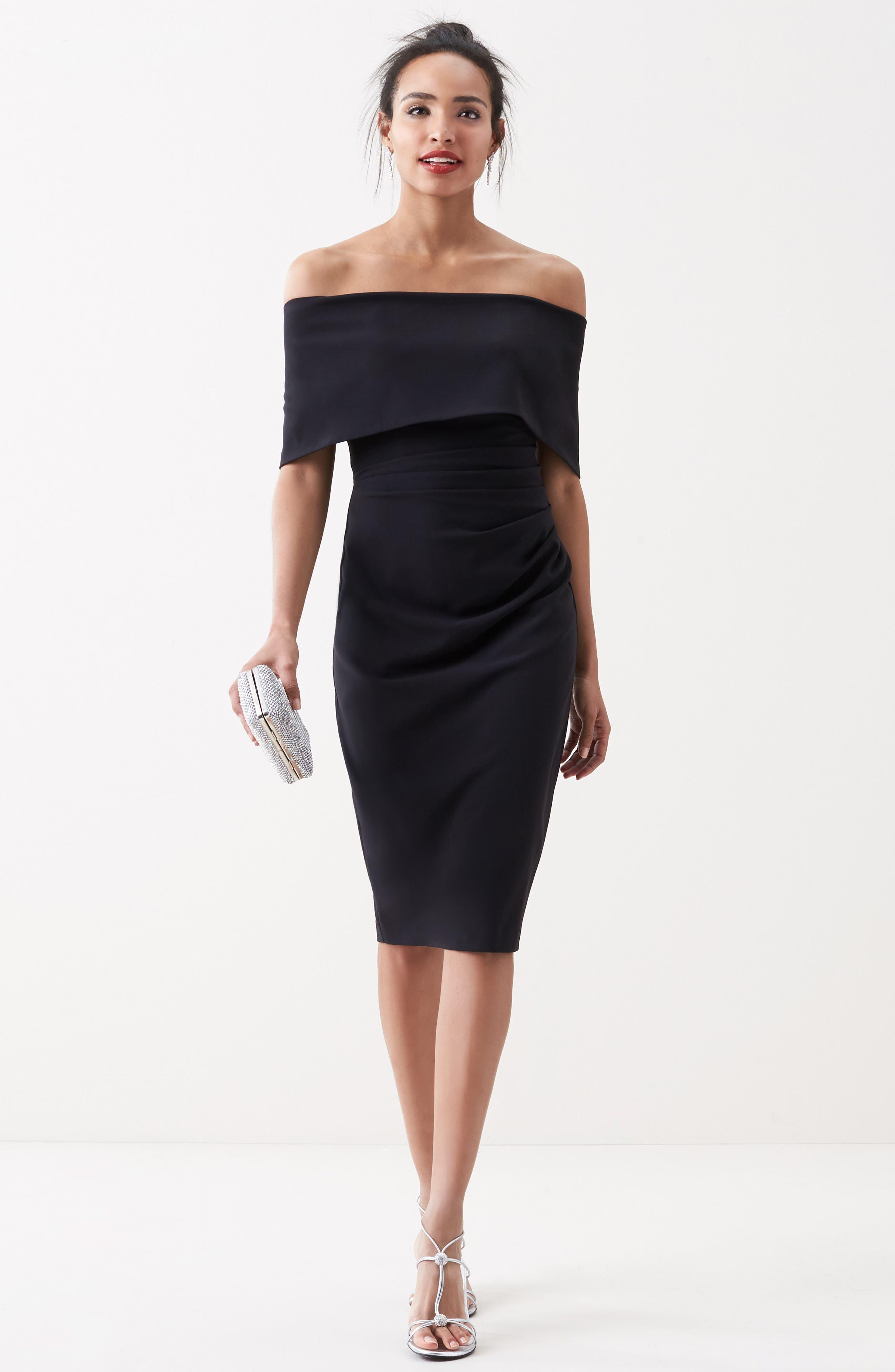 Popover Midi Dress,                         Main,                         color, BLACK