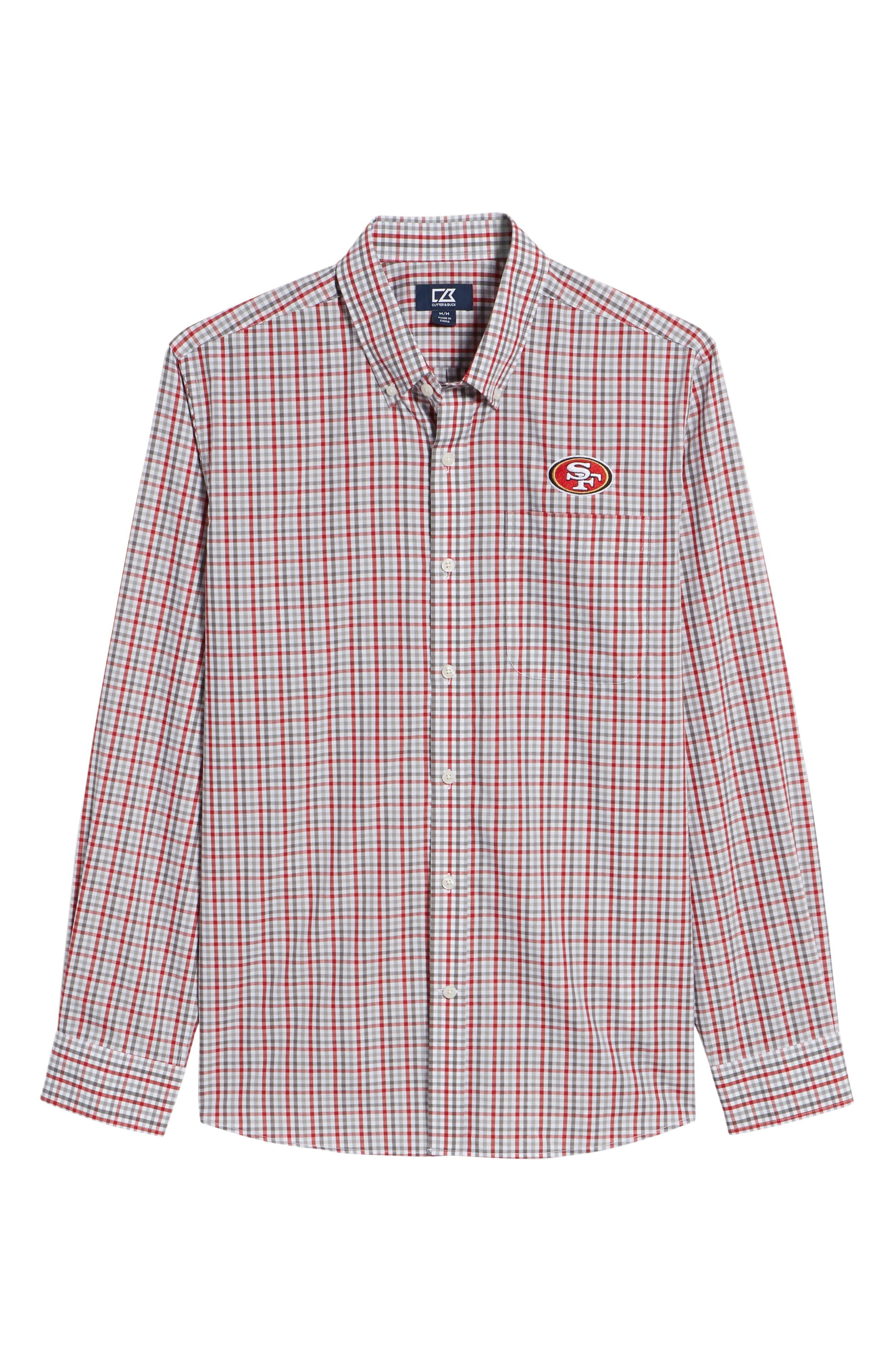 San Francisco 49ers - Gilman Regular Fit Plaid Sport Shirt,                             Alternate thumbnail 6, color,                             CARDINAL RED