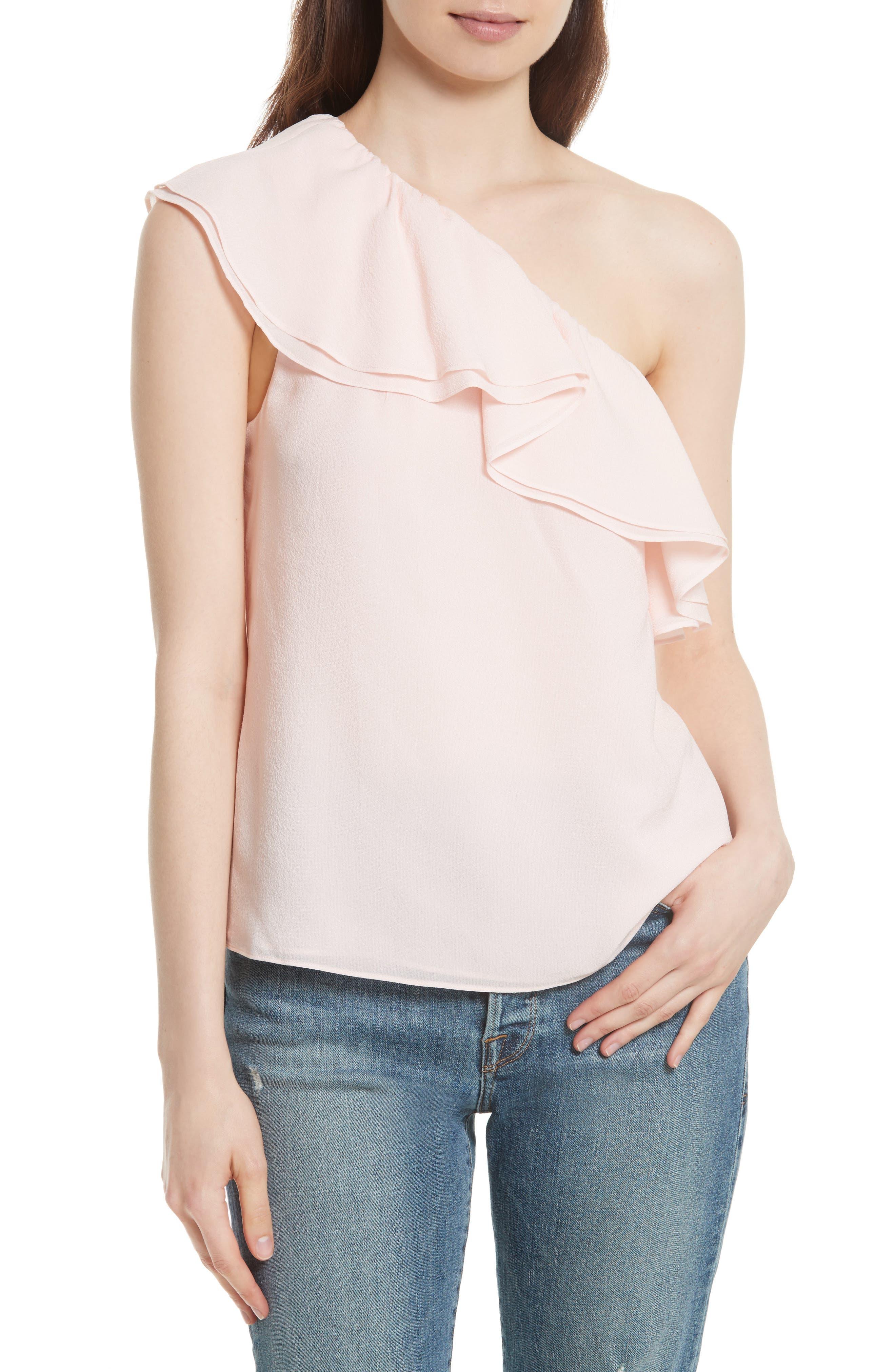 One-Shoulder Silk Top,                             Main thumbnail 1, color,                             652