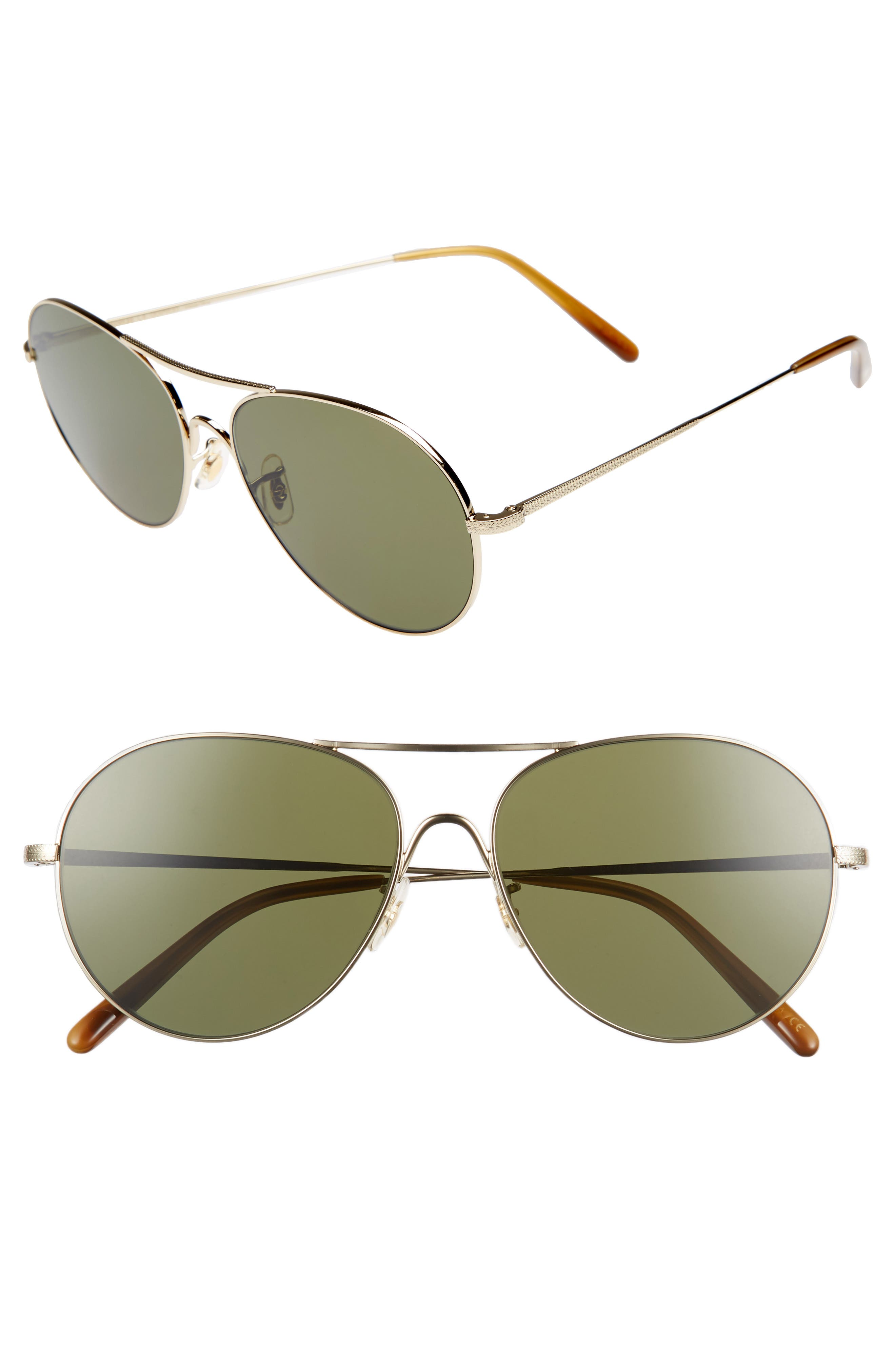Oliver Peoples Rockmore 5m Aviator Sunglasses - Gold/ Green