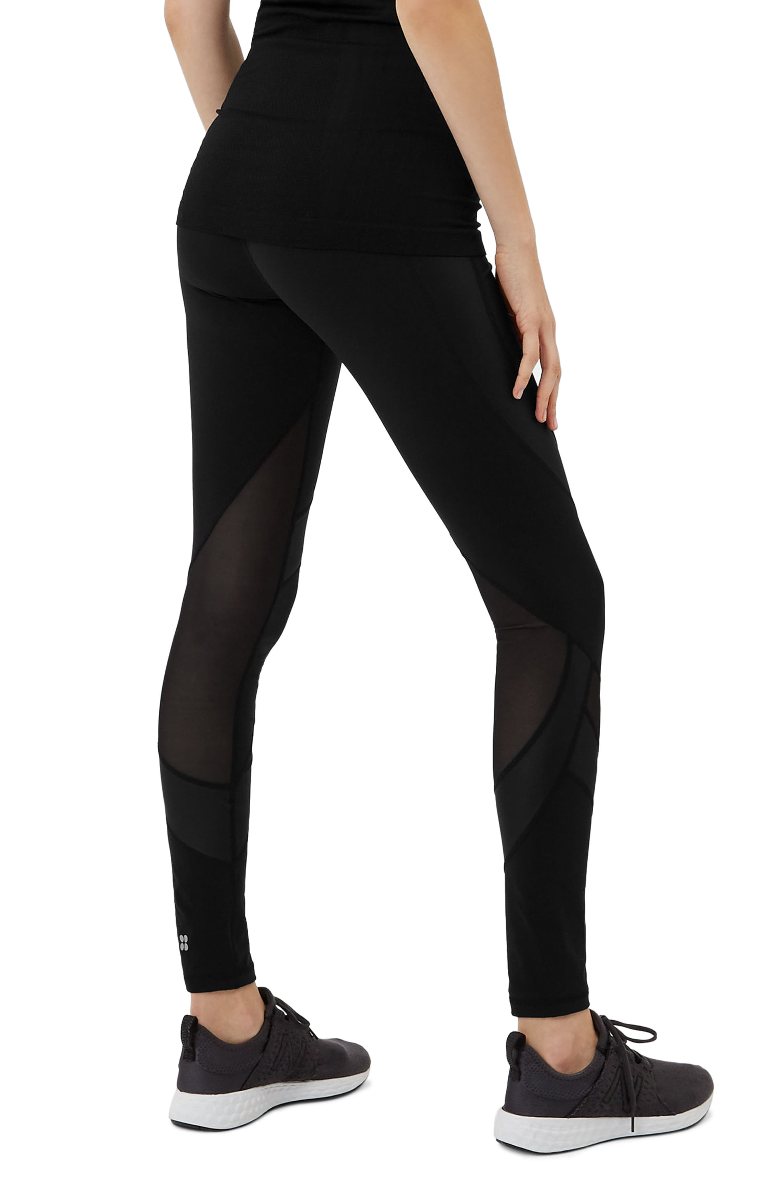 Wetlook Run Leggings,                             Alternate thumbnail 2, color,                             BLACK