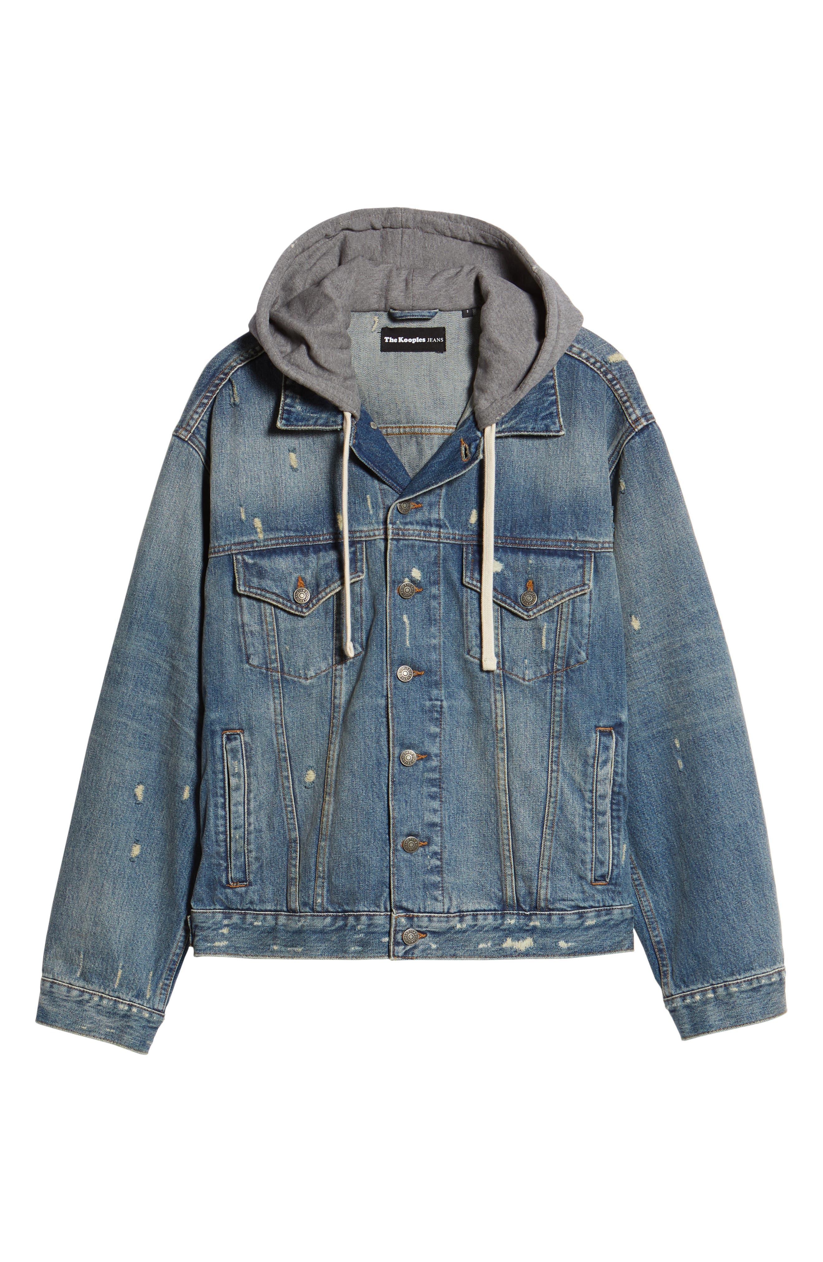 Oversized Distressed Denim Jacket with Hood,                             Alternate thumbnail 6, color,                             420