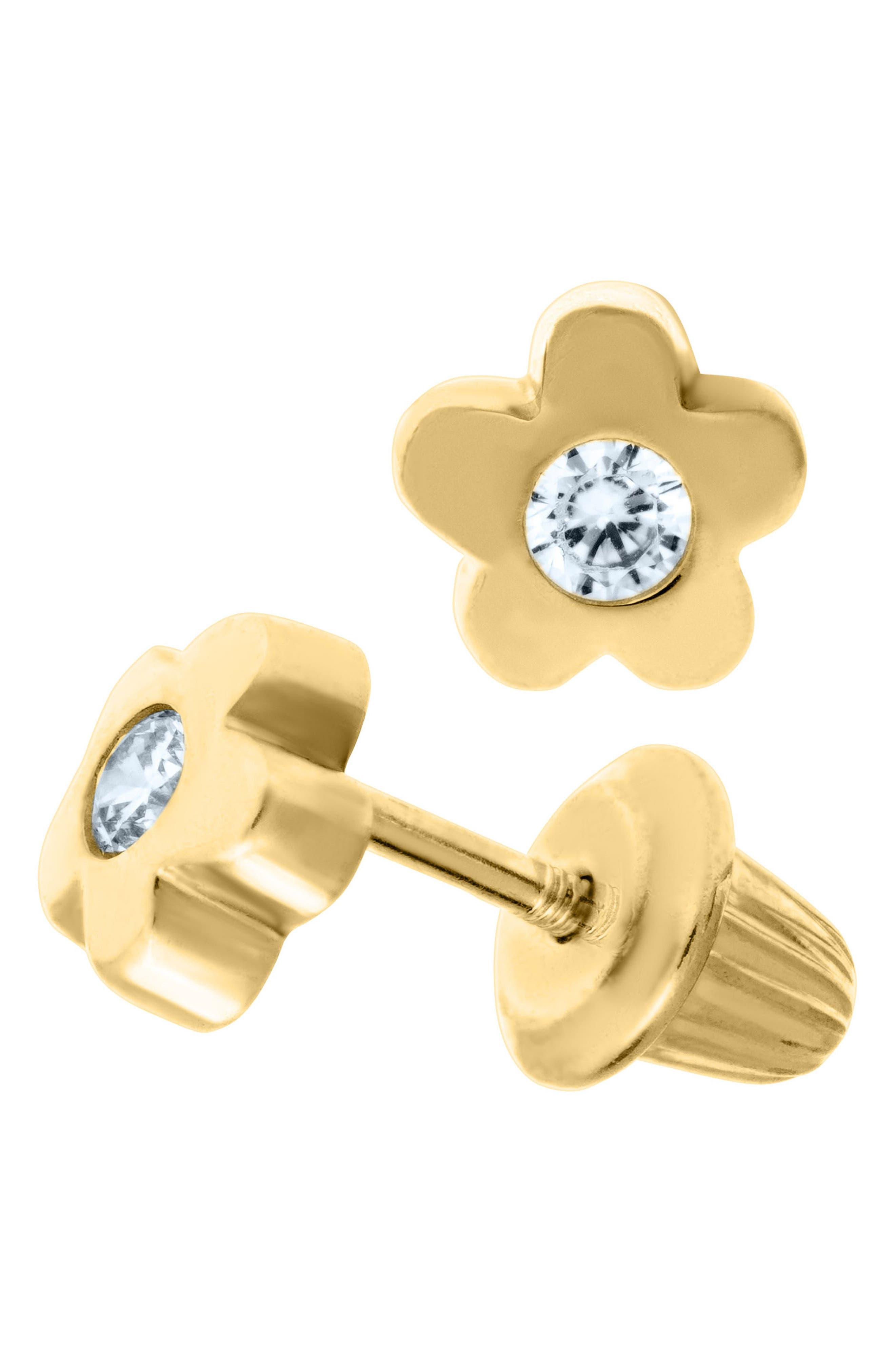 14k Gold & Cubic Zirconia Flower Earrings,                             Alternate thumbnail 2, color,                             GOLD