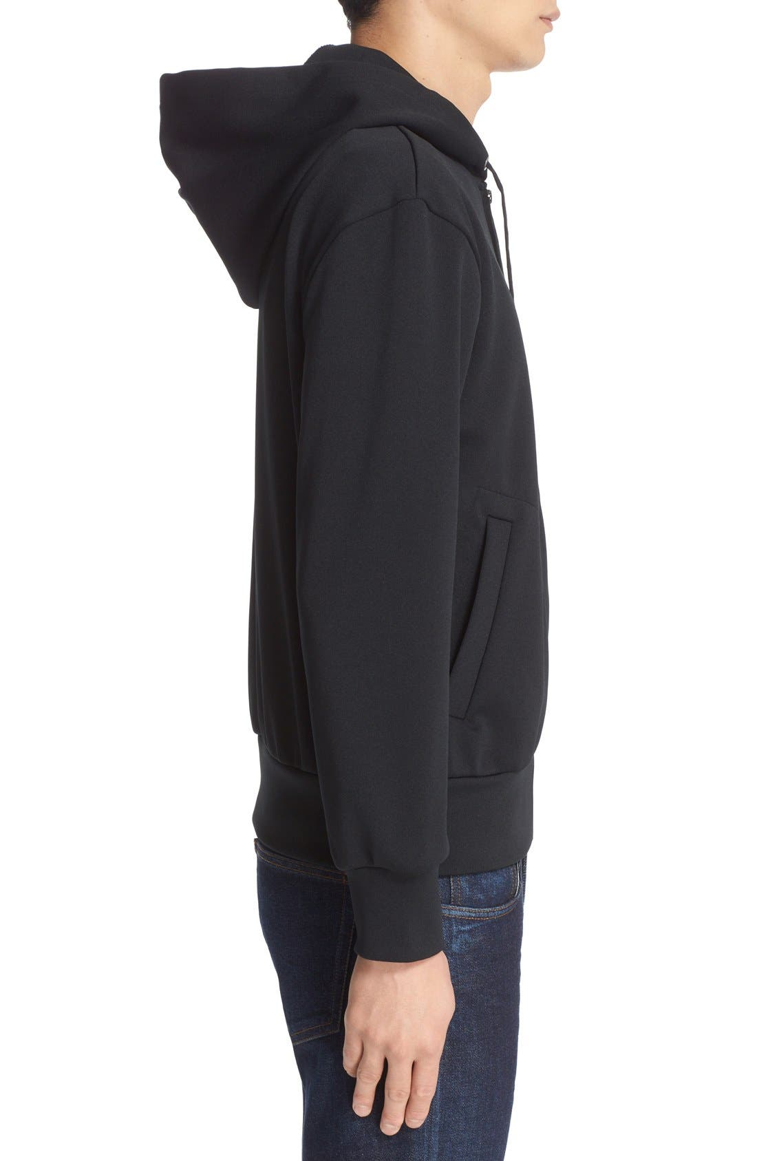 Zip-Up Hoodie,                             Alternate thumbnail 3, color,                             BLACK