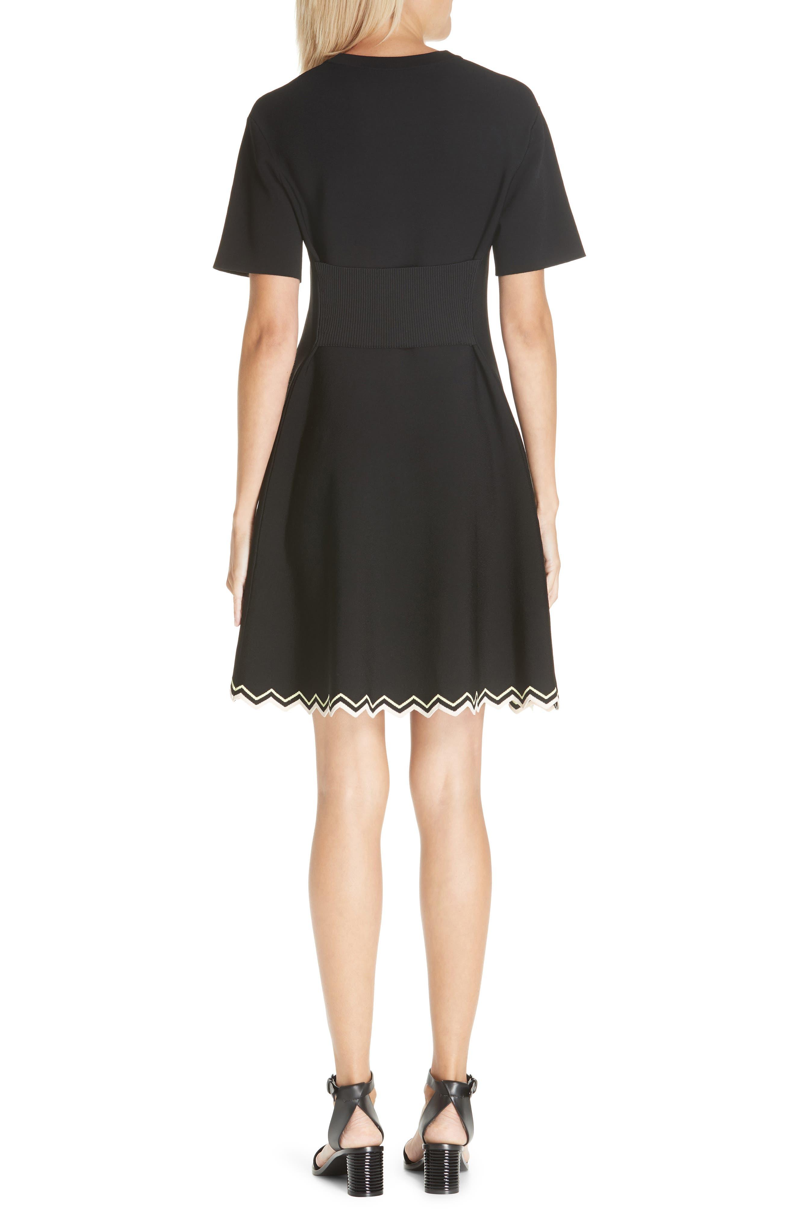 Chevron Hem A-Line Dress,                             Alternate thumbnail 2, color,                             10225 BLACK COMBO