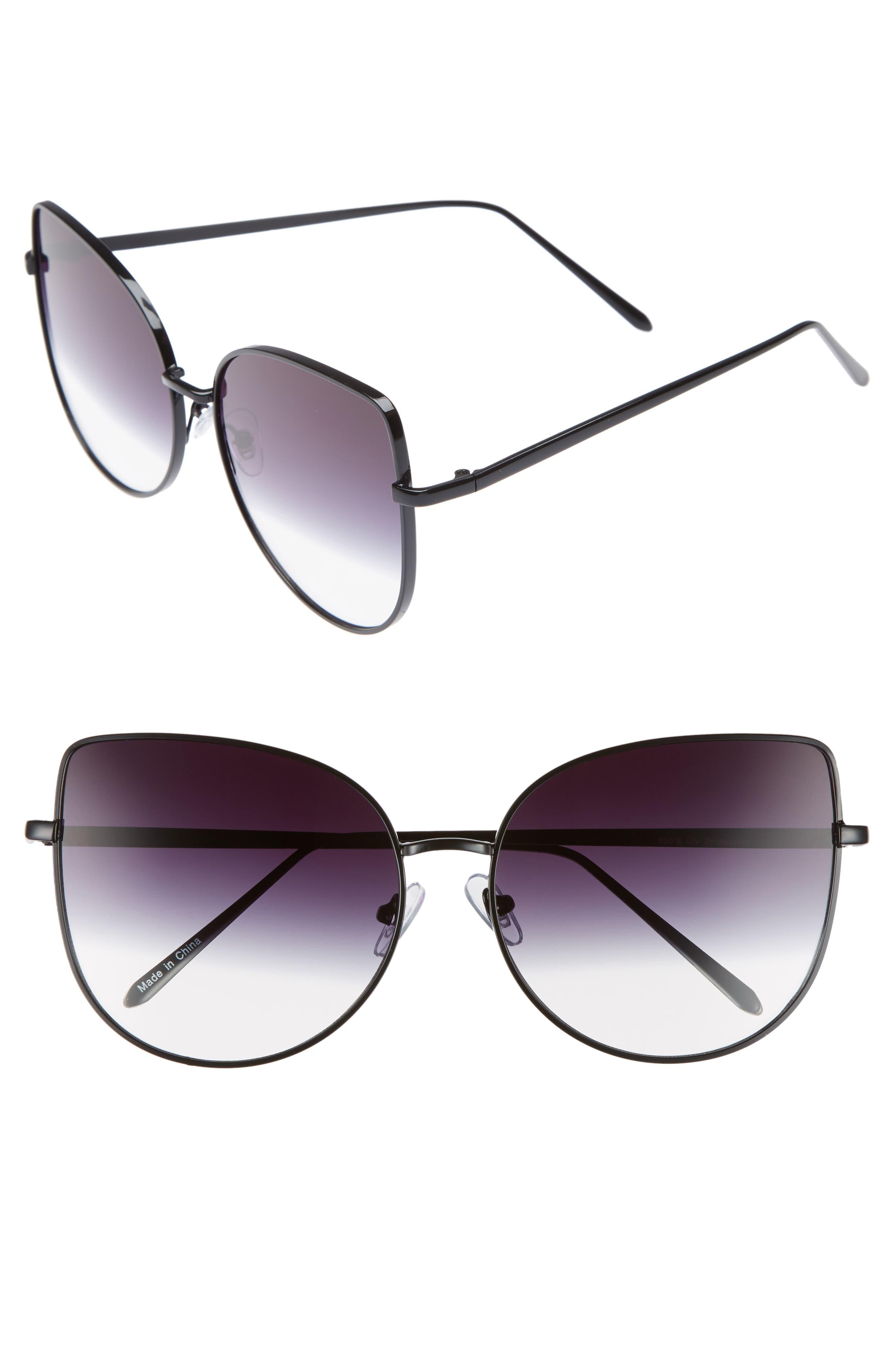 60mm Metal Cat Eye Sunglasses,                         Main,                         color, 001