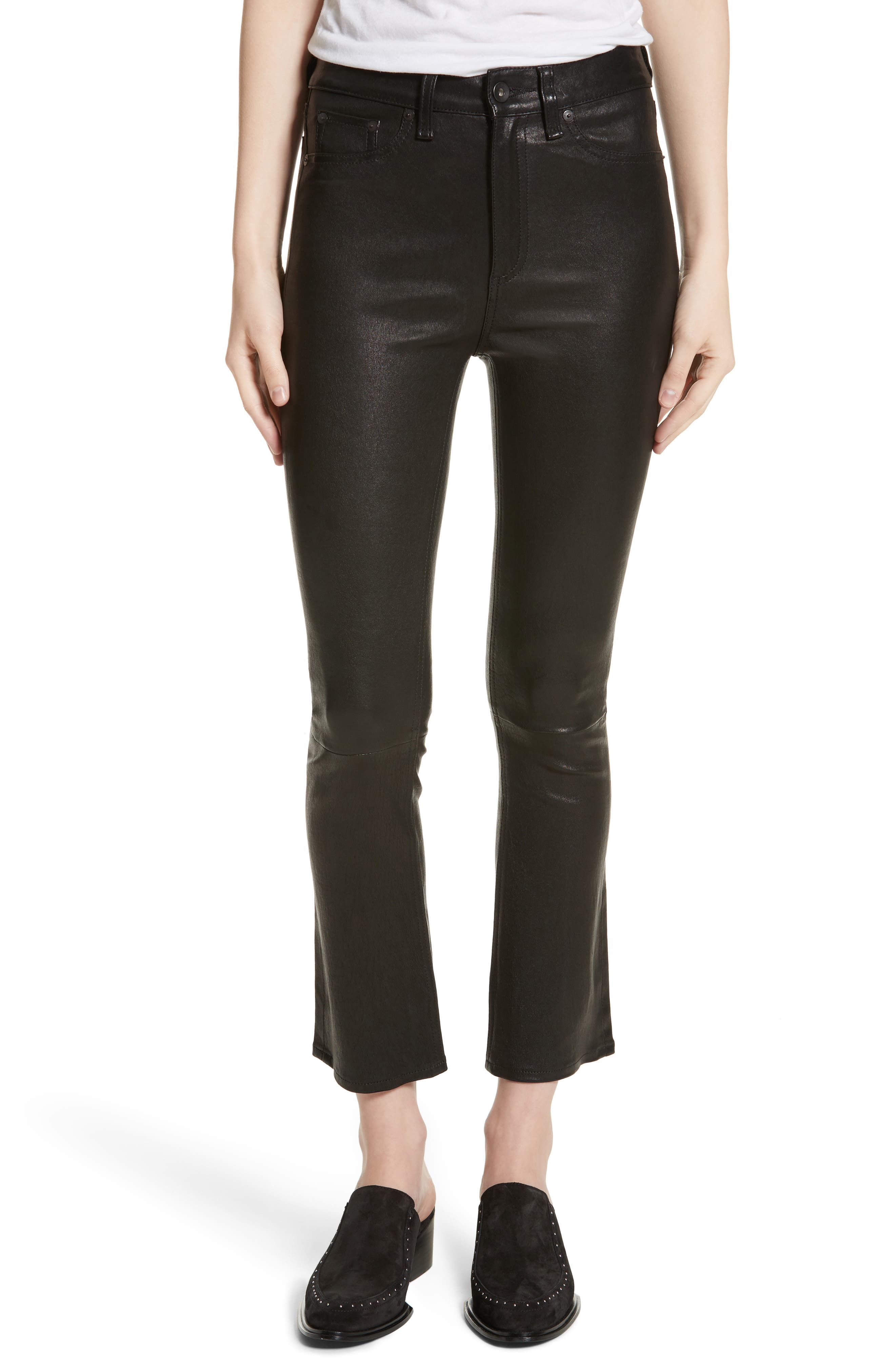 Hana Crop Flare Leather Pants,                         Main,                         color, 003