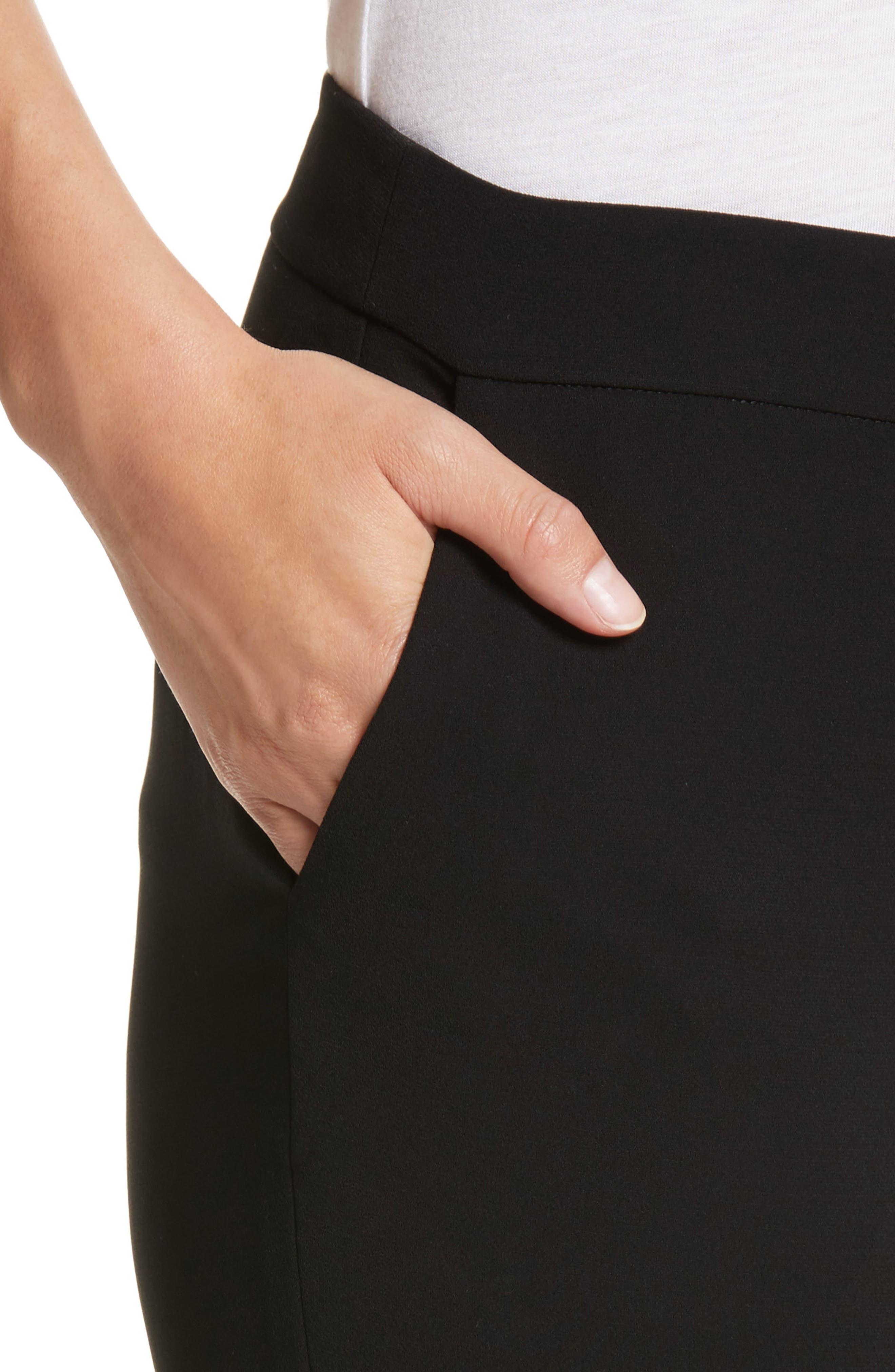 Manhattan Finesse Crepe Crop Flare Pants,                             Alternate thumbnail 4, color,                             BLACK