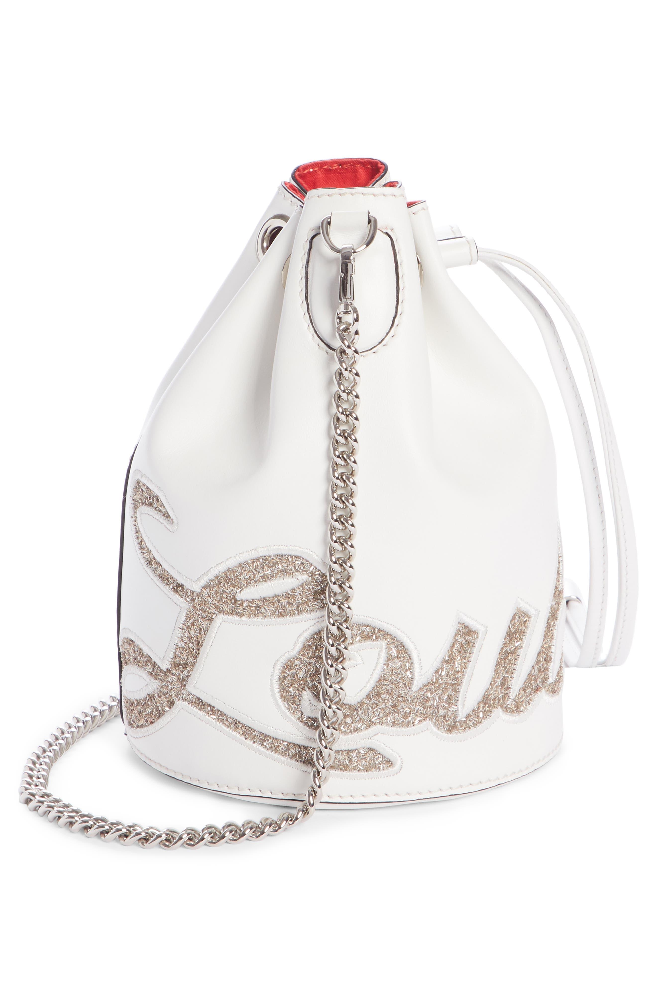 Marie Jane Calfskin Bucket Bag,                             Alternate thumbnail 4, color,                             SNOW/ PERLE