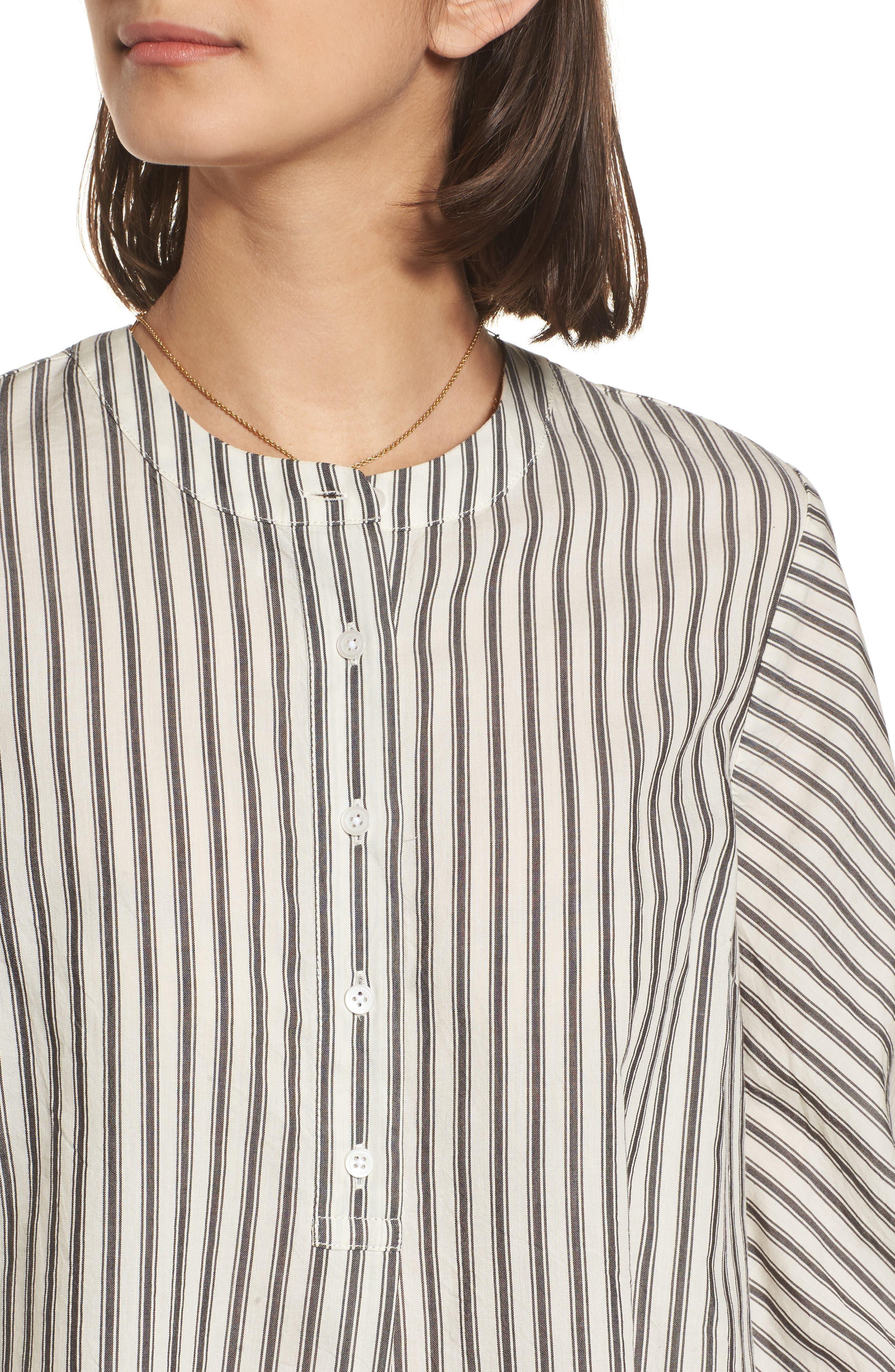 Stripe Flare Sleeve Shirt,                             Alternate thumbnail 4, color,                             190
