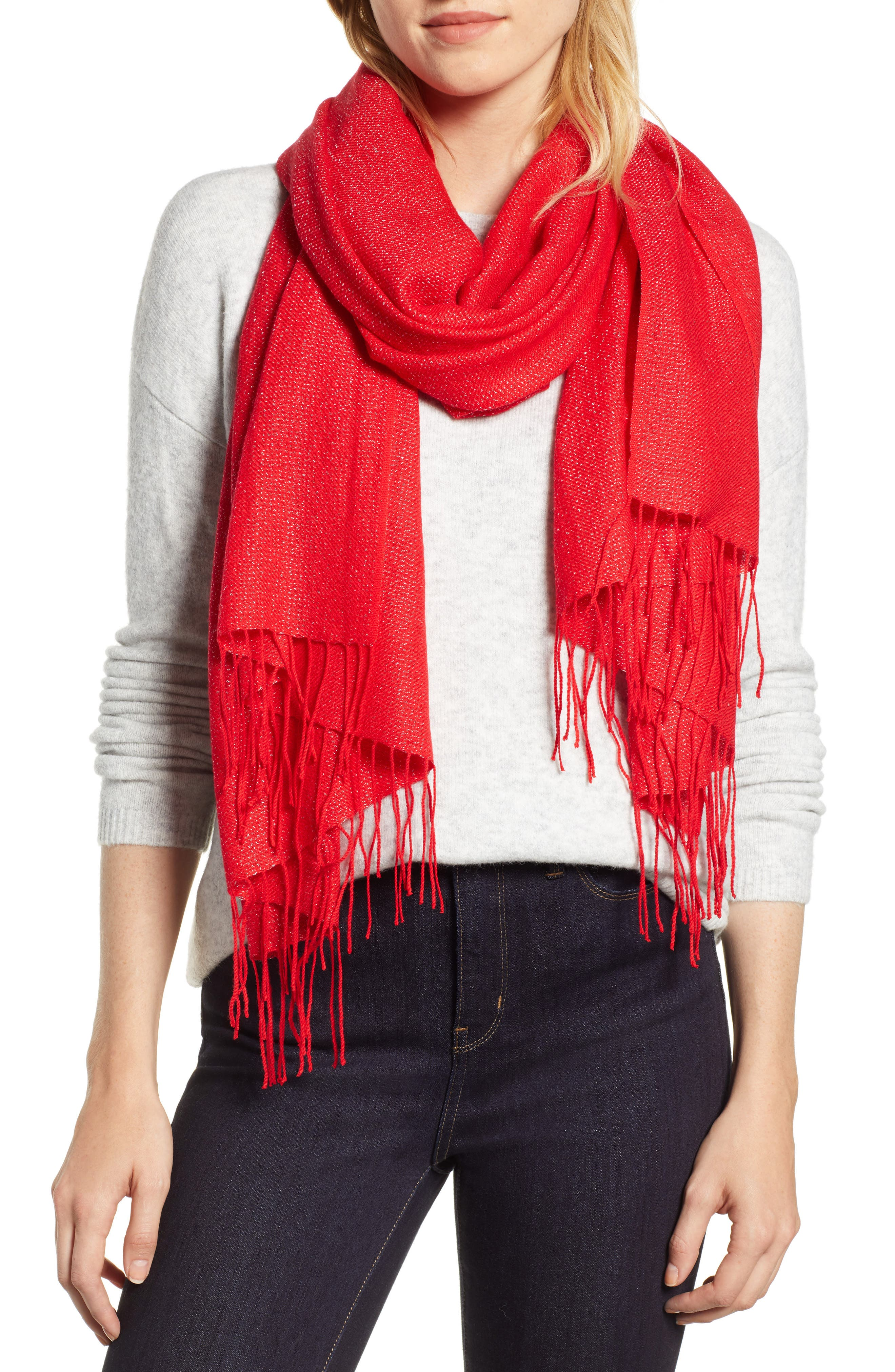 Metallic Wool Blend Scarf,                         Main,                         color, 610