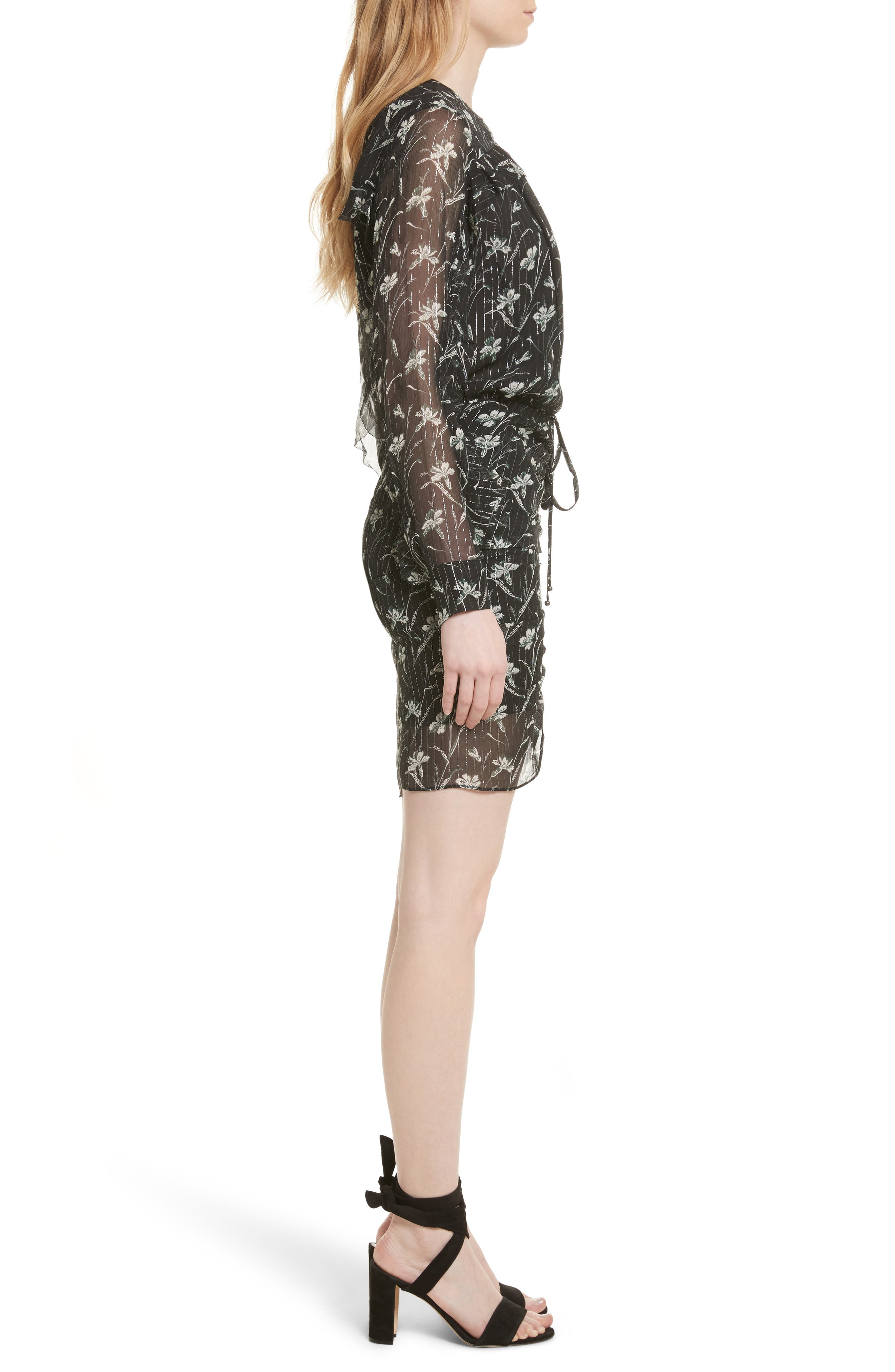 Fitzgerald Floral Print Metallic Chiffon Dress,                             Alternate thumbnail 3, color,                             301