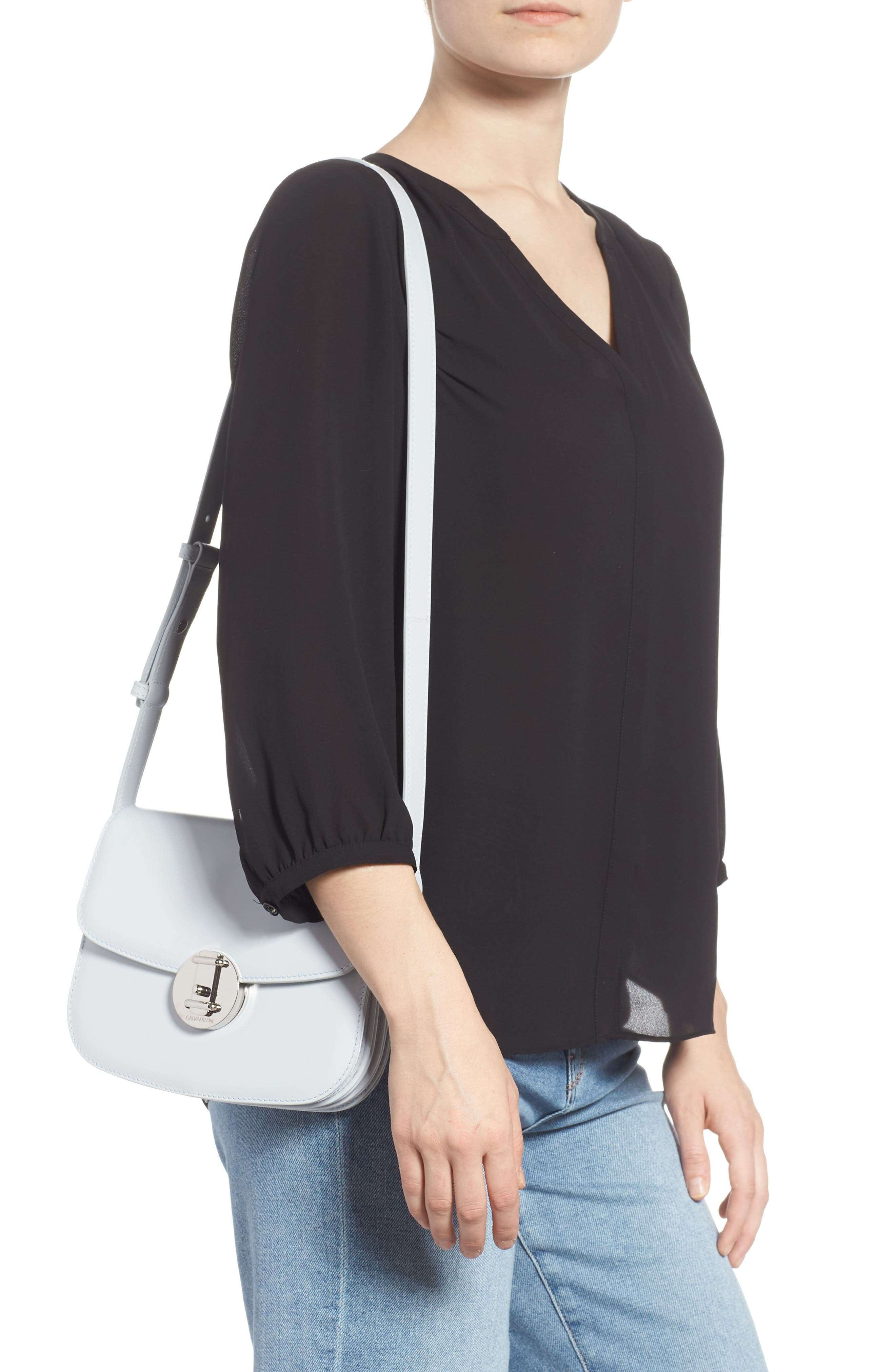 Small Round Lock Leather Shoulder Bag,                             Alternate thumbnail 2, color,                             CLOUD