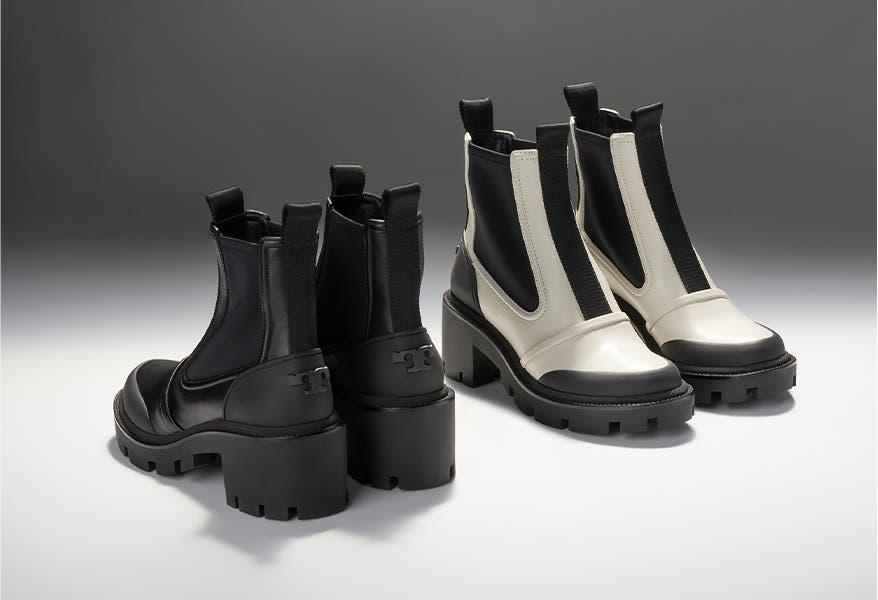 Tory Burch Chelsea lug-sole boots.