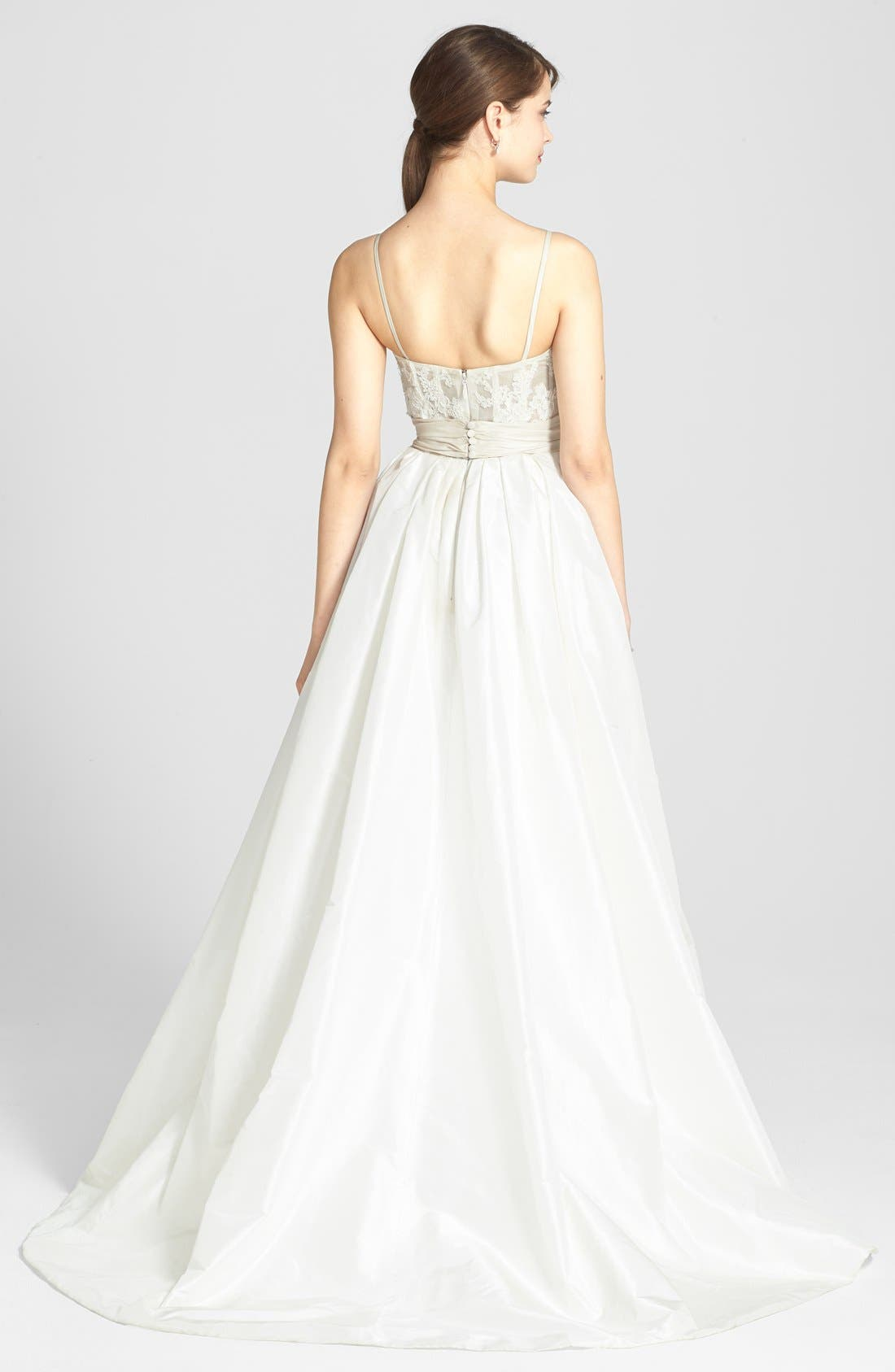 Cameron Lace Appliqué Corset Bodice Silk Taffeta Dress,                             Alternate thumbnail 3, color,