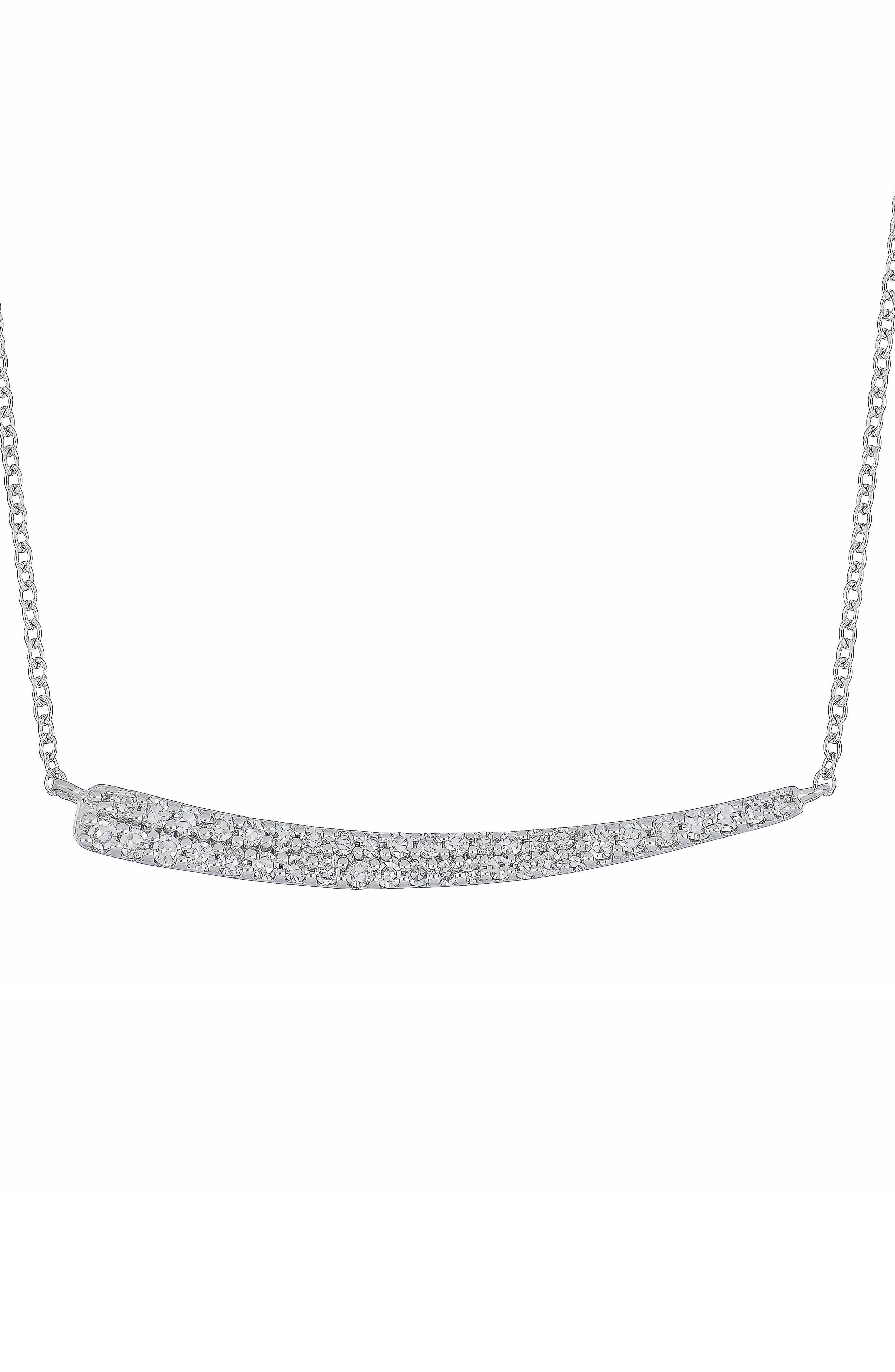 Carrière Curved Diamond Bar Pendant,                             Main thumbnail 1, color,                             STERLING SILVER/ DIAMOND