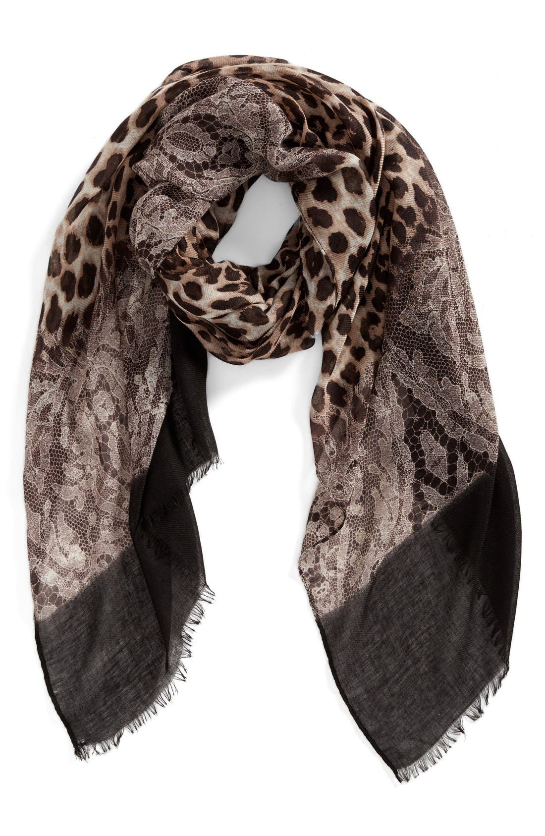 Animal Lace Scarf,                             Main thumbnail 1, color,                             001