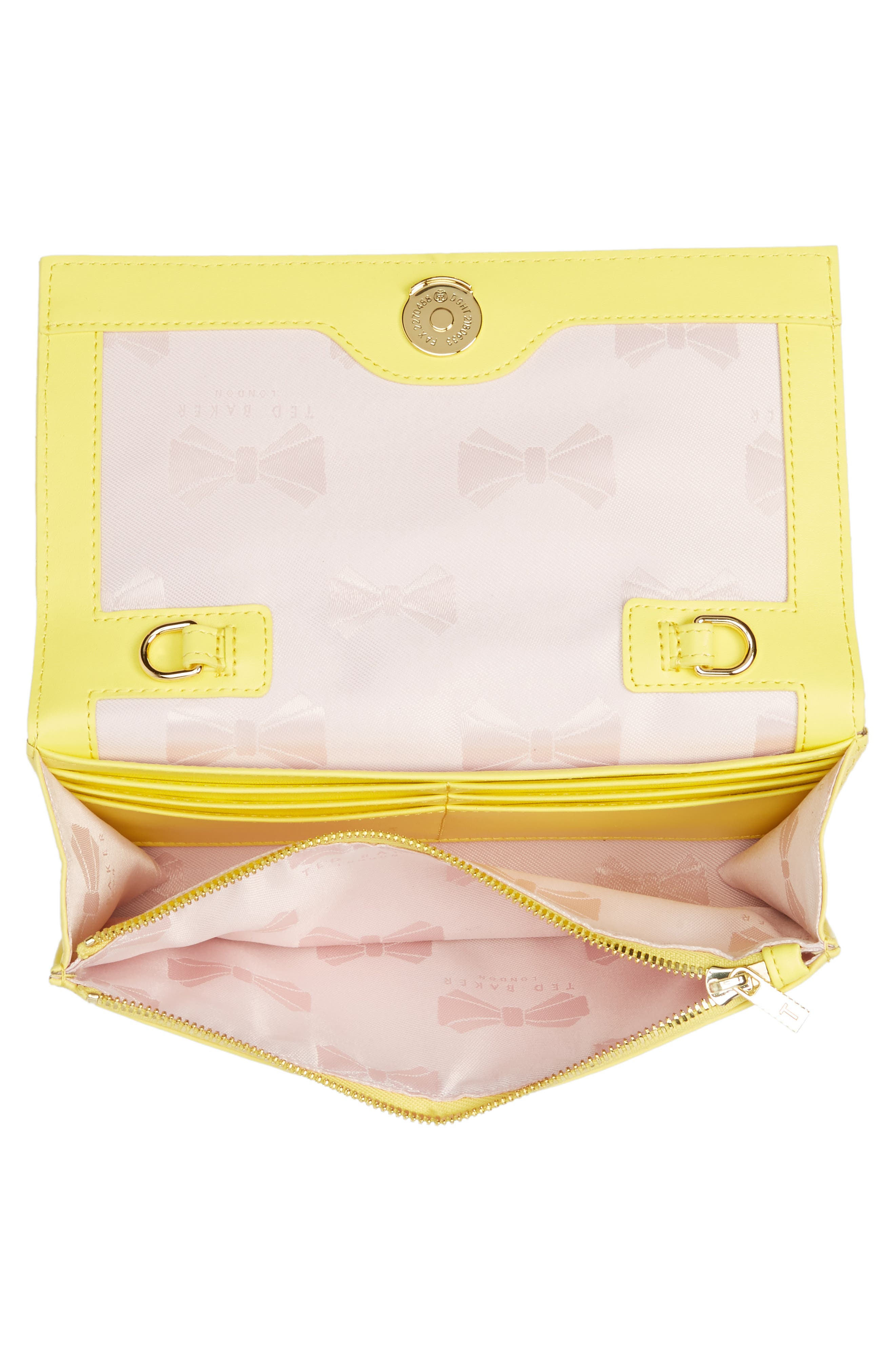 TED BAKER LONDON,                             Quilted Bow Leather Matinée Wallet on a Chain,                             Alternate thumbnail 4, color,                             700