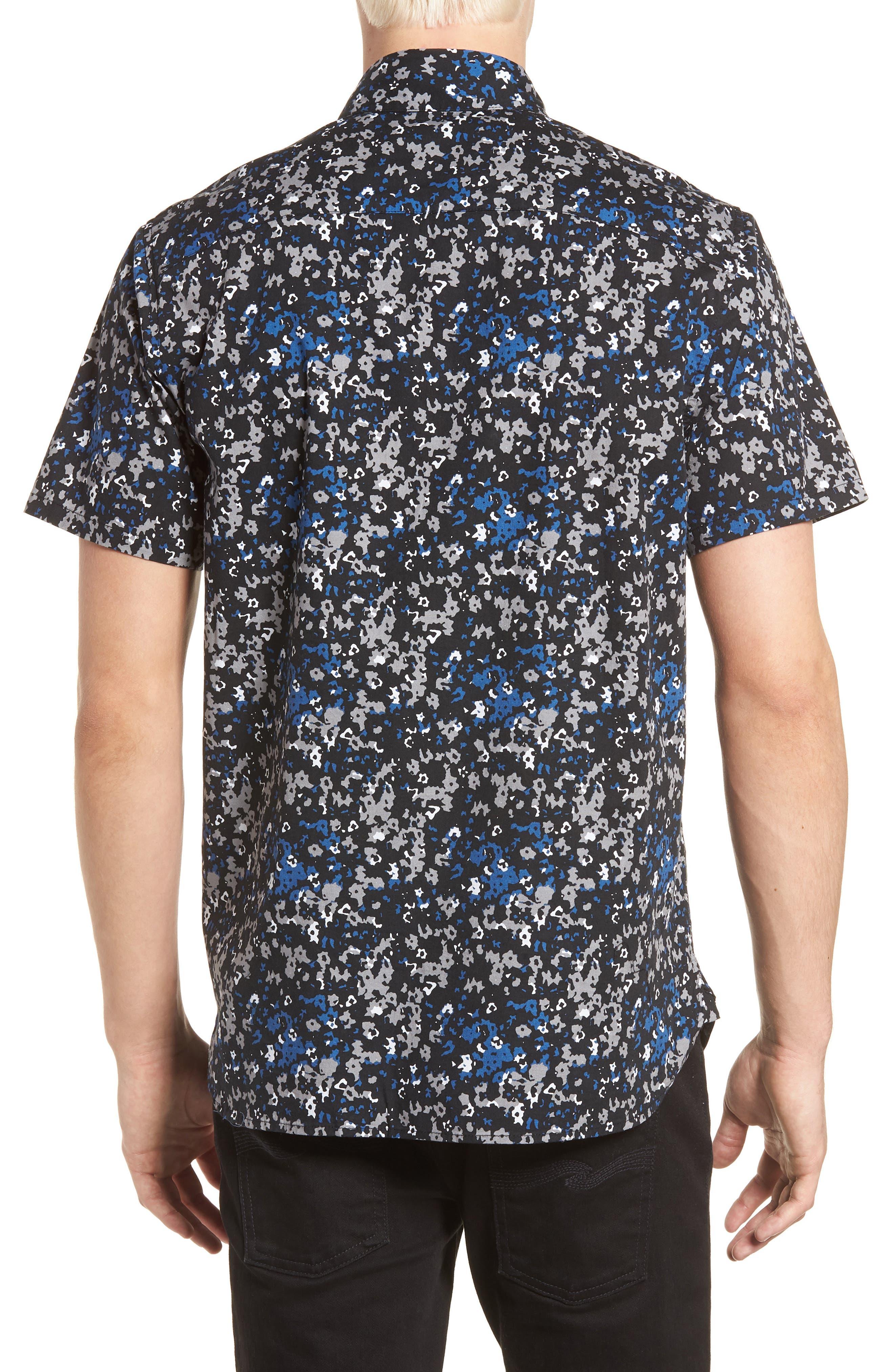Fowler Woven Shirt,                             Alternate thumbnail 2, color,                             BLACK MICRO FLORAL
