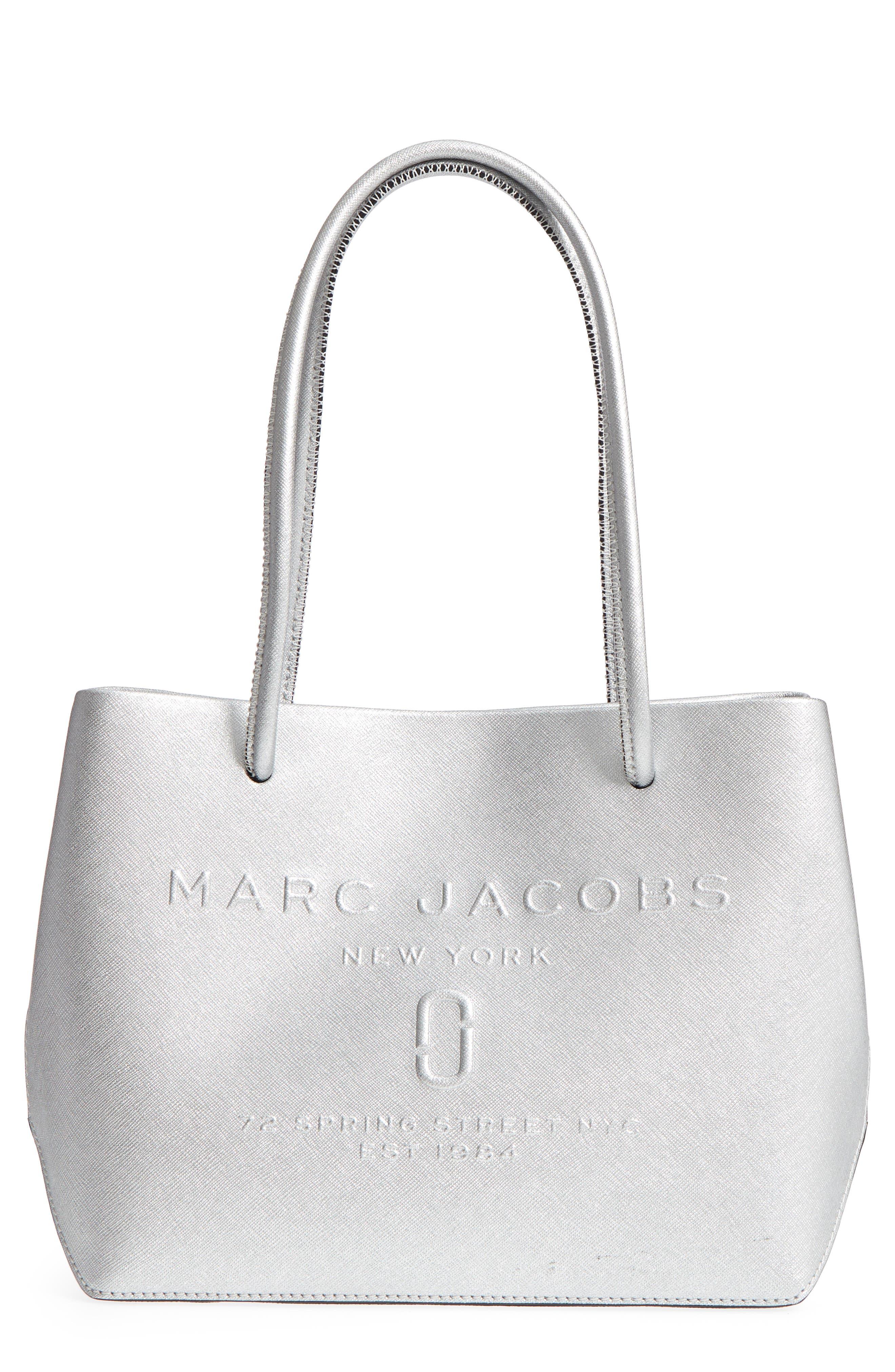 Mini Metallic Leather Logo Shopper Tote,                         Main,                         color, 040