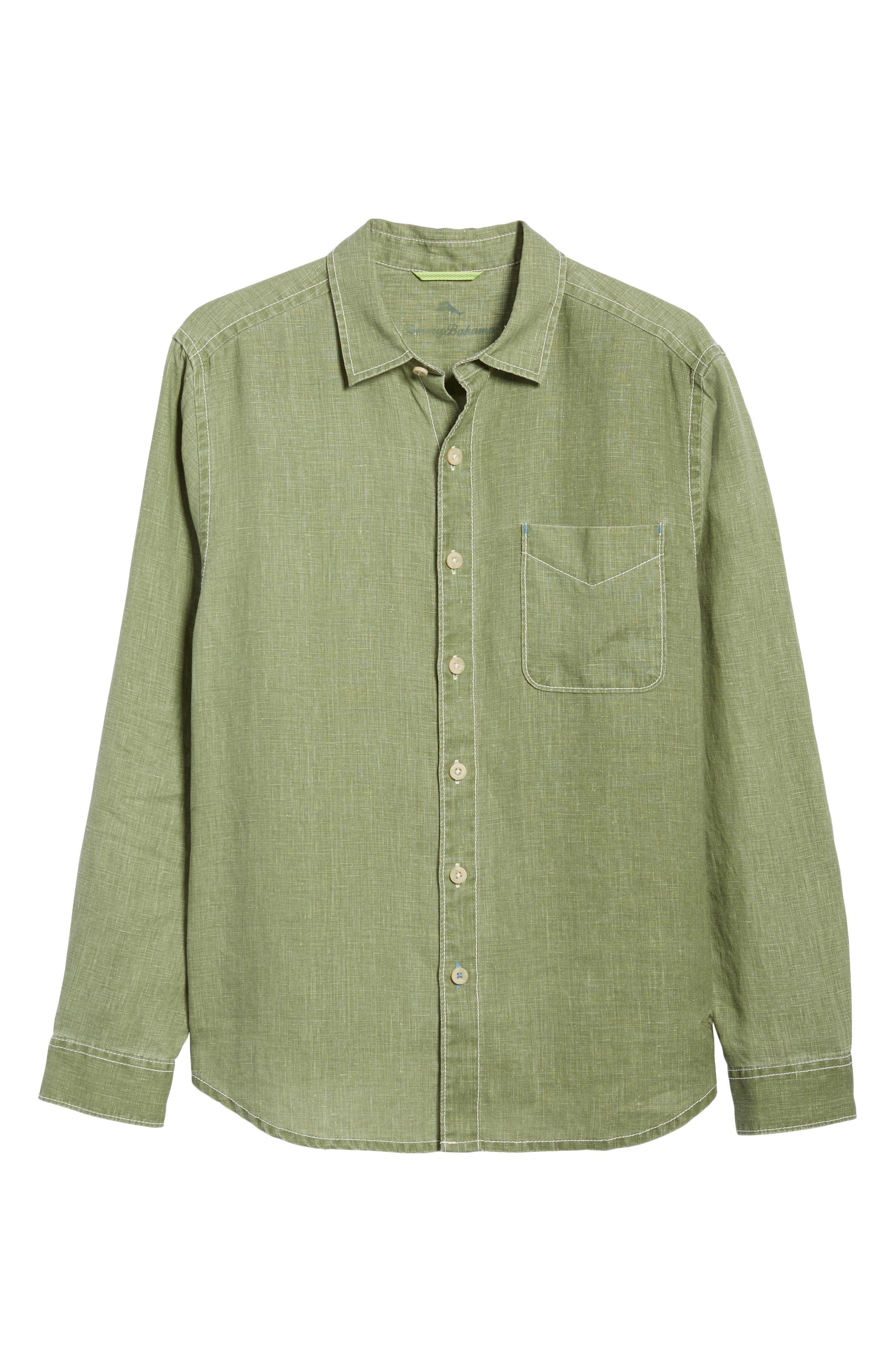 Sea Glass Breezer Linen Sport Shirt,                             Alternate thumbnail 6, color,                             304