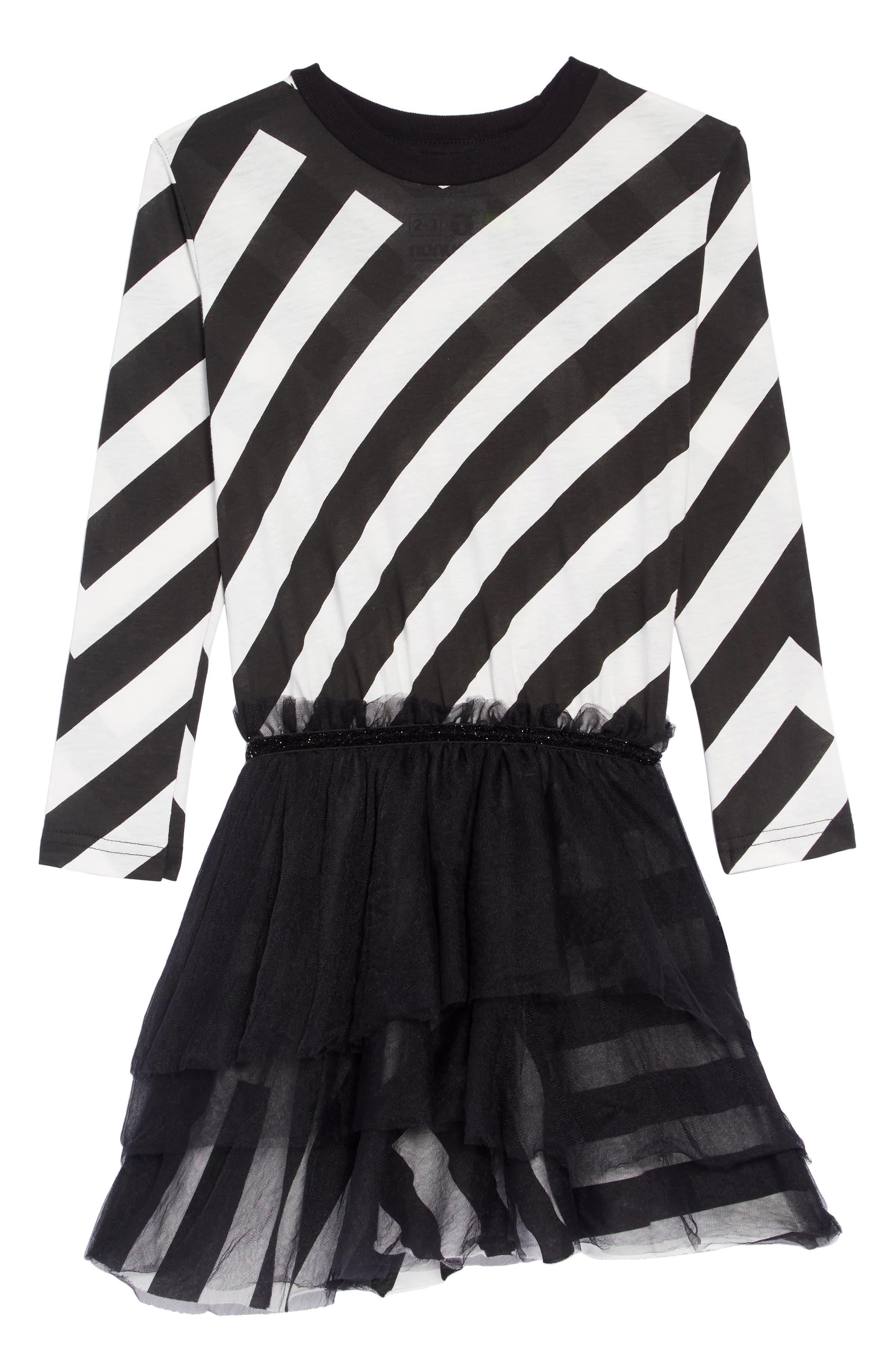 Stripe Tulle Dress,                         Main,                         color, BLACK