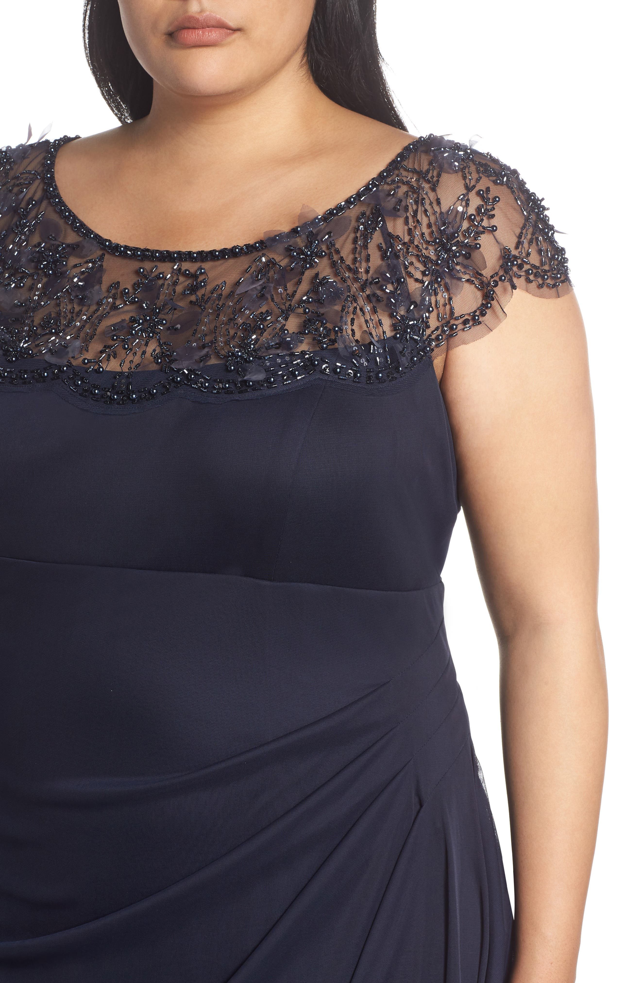 Ruched Side Beaded Gown,                             Alternate thumbnail 4, color,                             NAVY/ NAVY