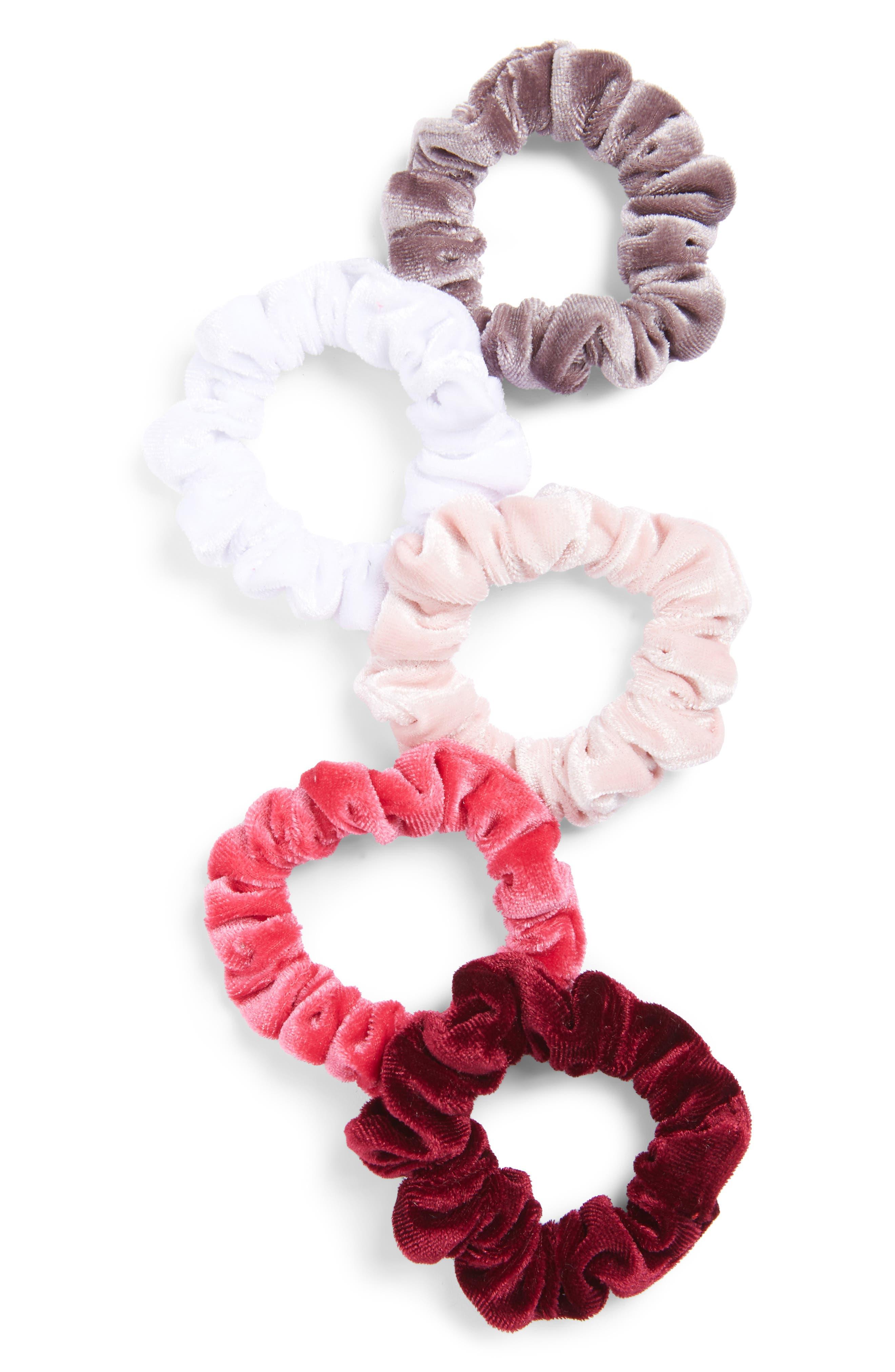 5-Pack Velvet Scrunchies,                             Main thumbnail 1, color,                             501