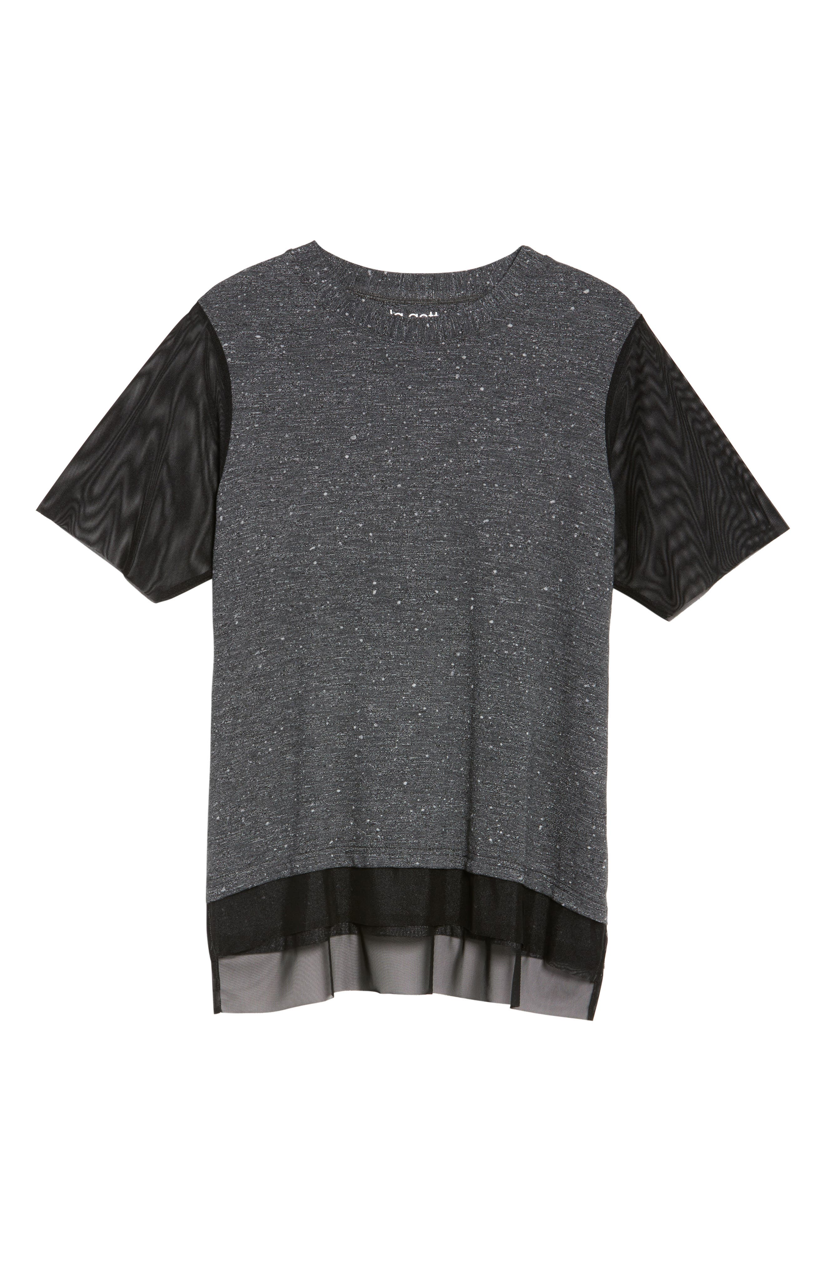 Lola Mesh Sleeve Tee,                             Alternate thumbnail 6, color,                             CHARCOAL