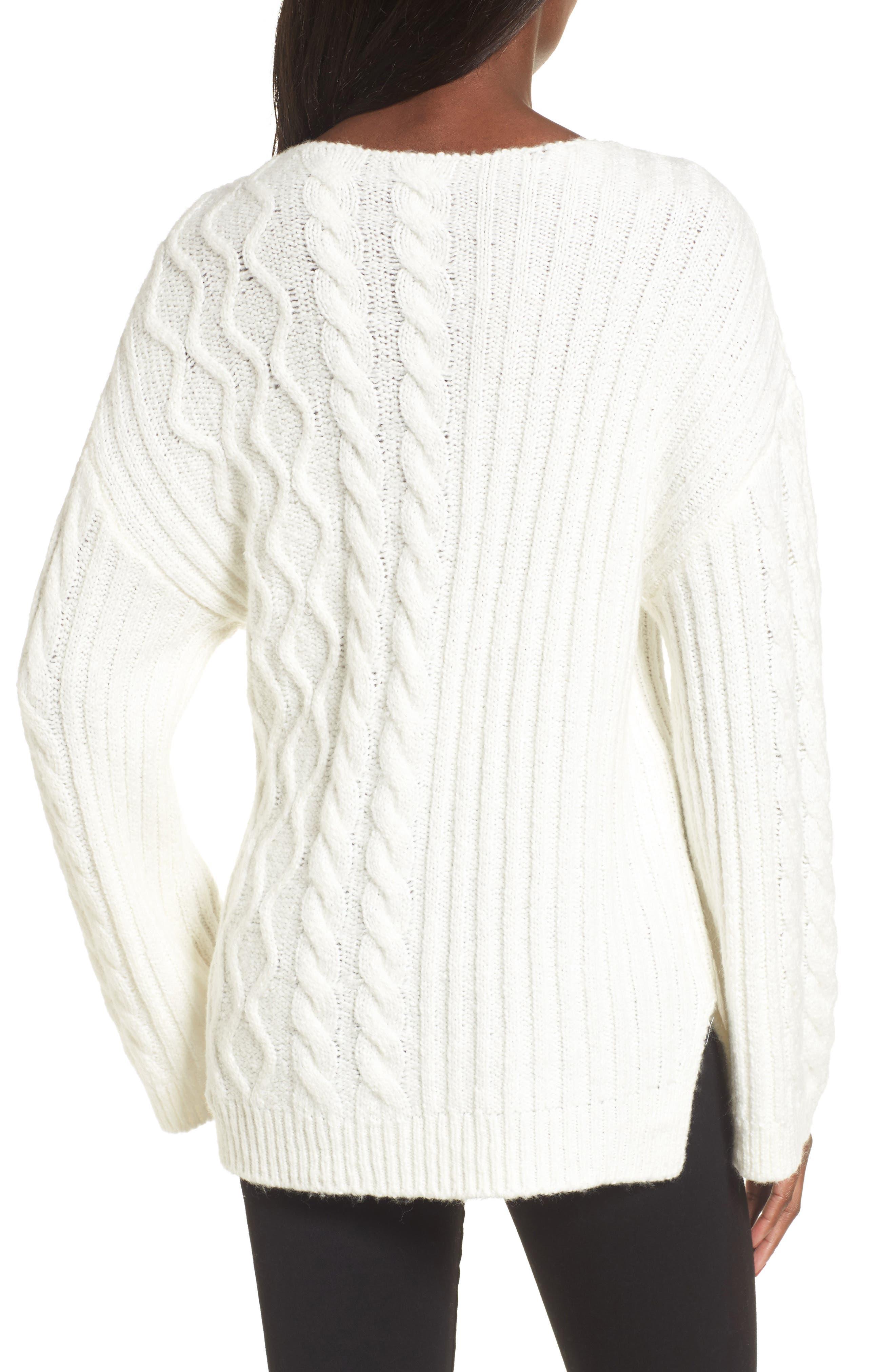 Mix Stitch Cotton Blend Sweater,                             Alternate thumbnail 4, color,