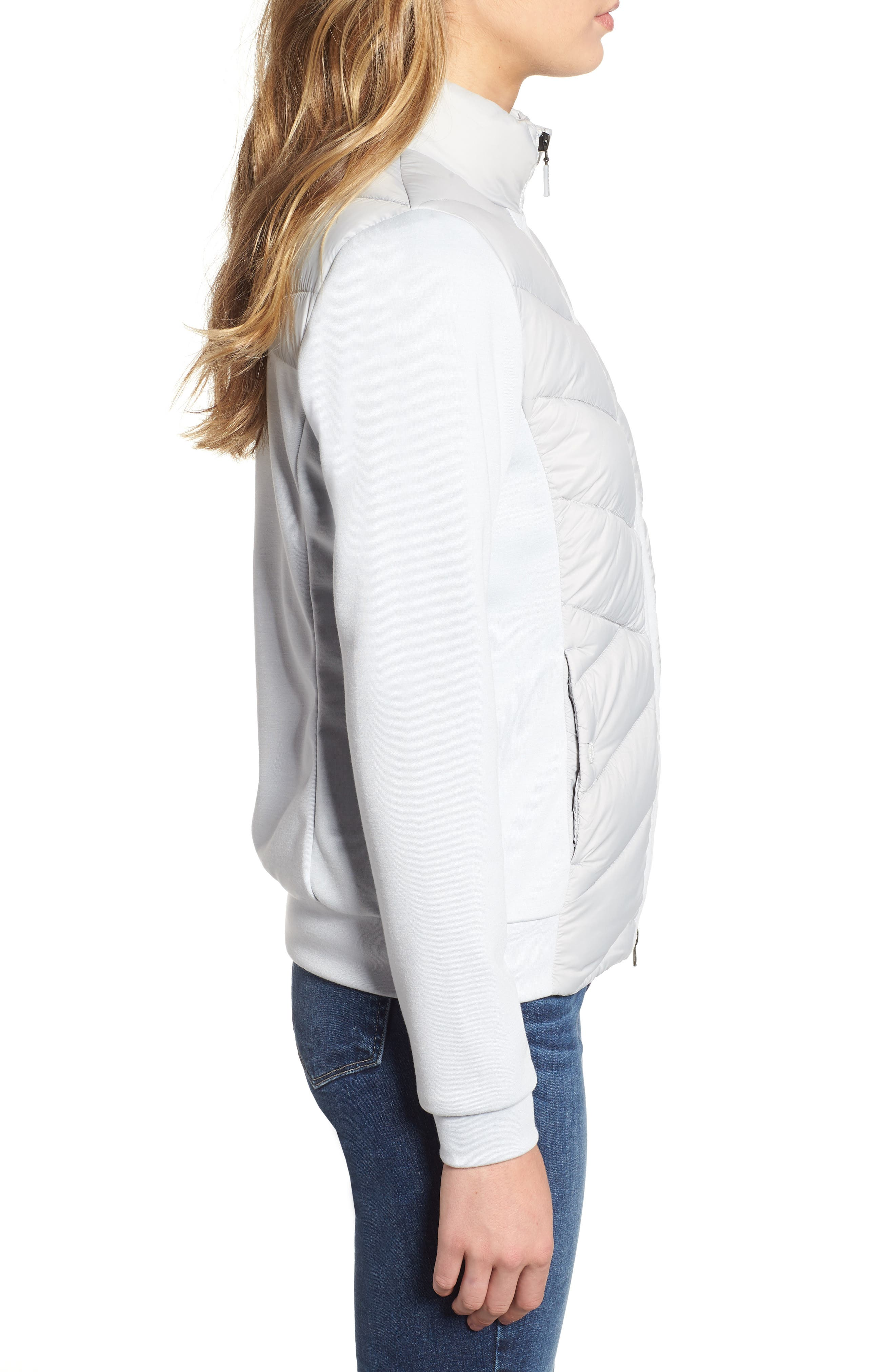 BARBOUR,                             Hirsel Chevron Quilted Sweater Jacket,                             Alternate thumbnail 3, color,                             ICE WHITE/ ICE WHITE MARL