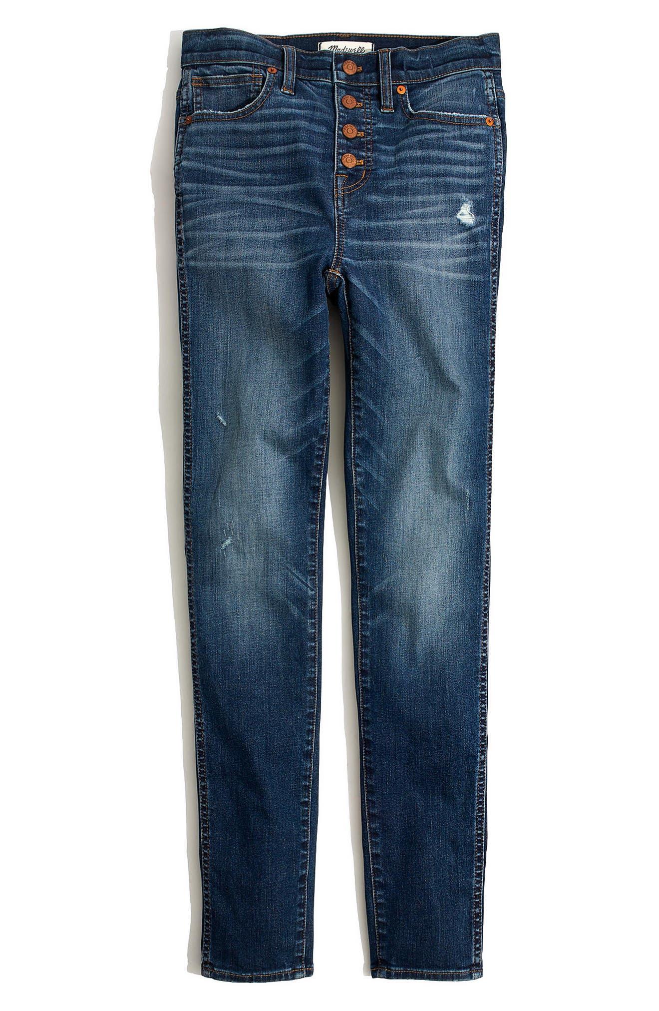 10-Inch High Waist Drop Hem Skinny Jeans,                             Alternate thumbnail 3, color,                             ROSE CLIFF