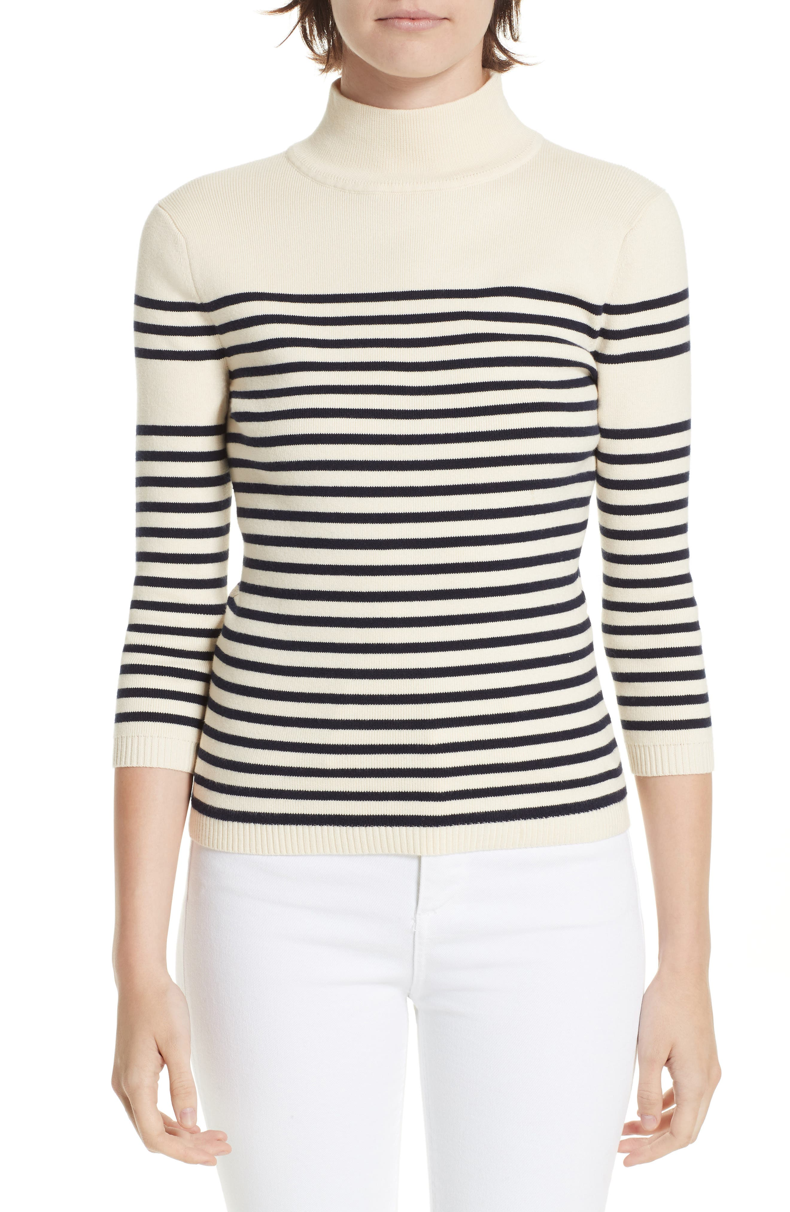 Classique Stripe Sweater,                             Main thumbnail 1, color,                             CREAM/ NAVY STRIPES
