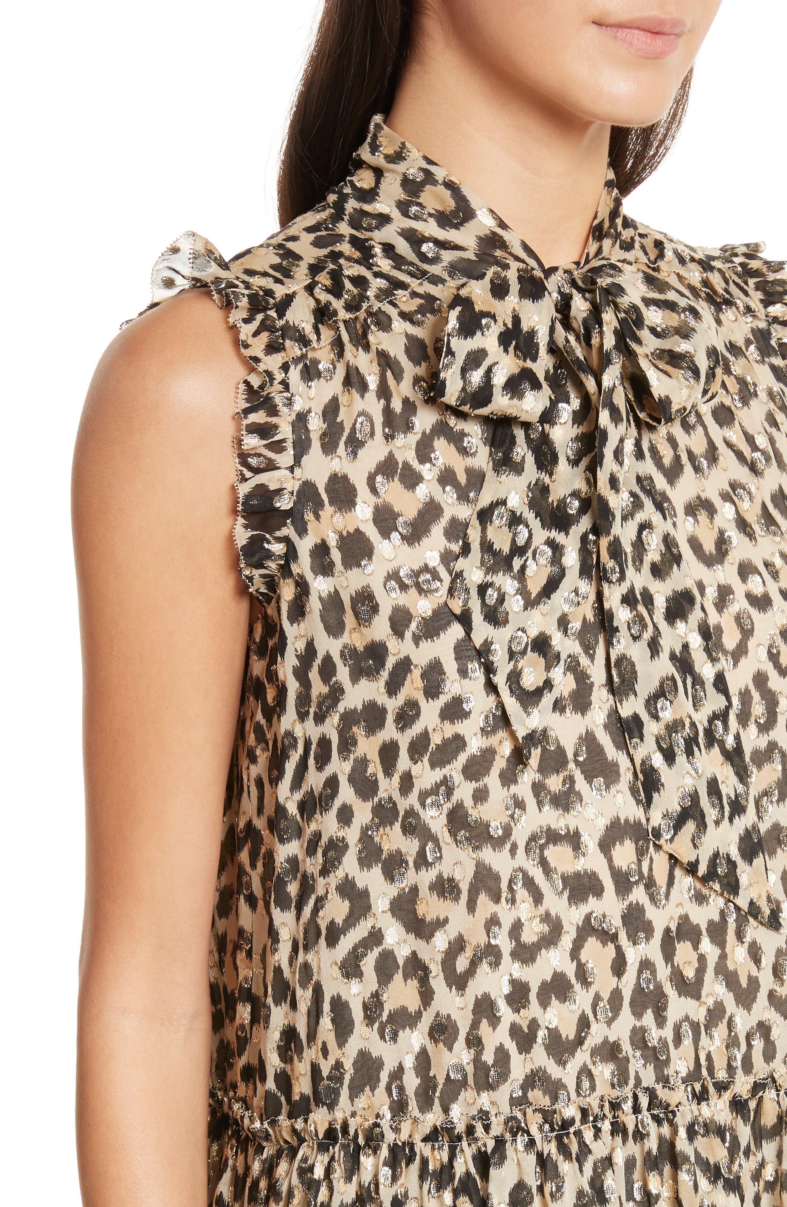 leopard metallic clip jacquard top,                             Alternate thumbnail 4, color,