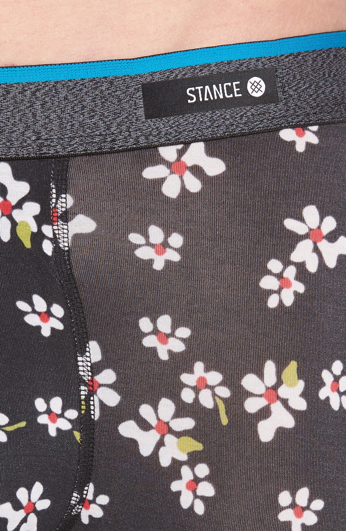 Light Flowers Boxer Briefs,                             Alternate thumbnail 4, color,                             BLACK
